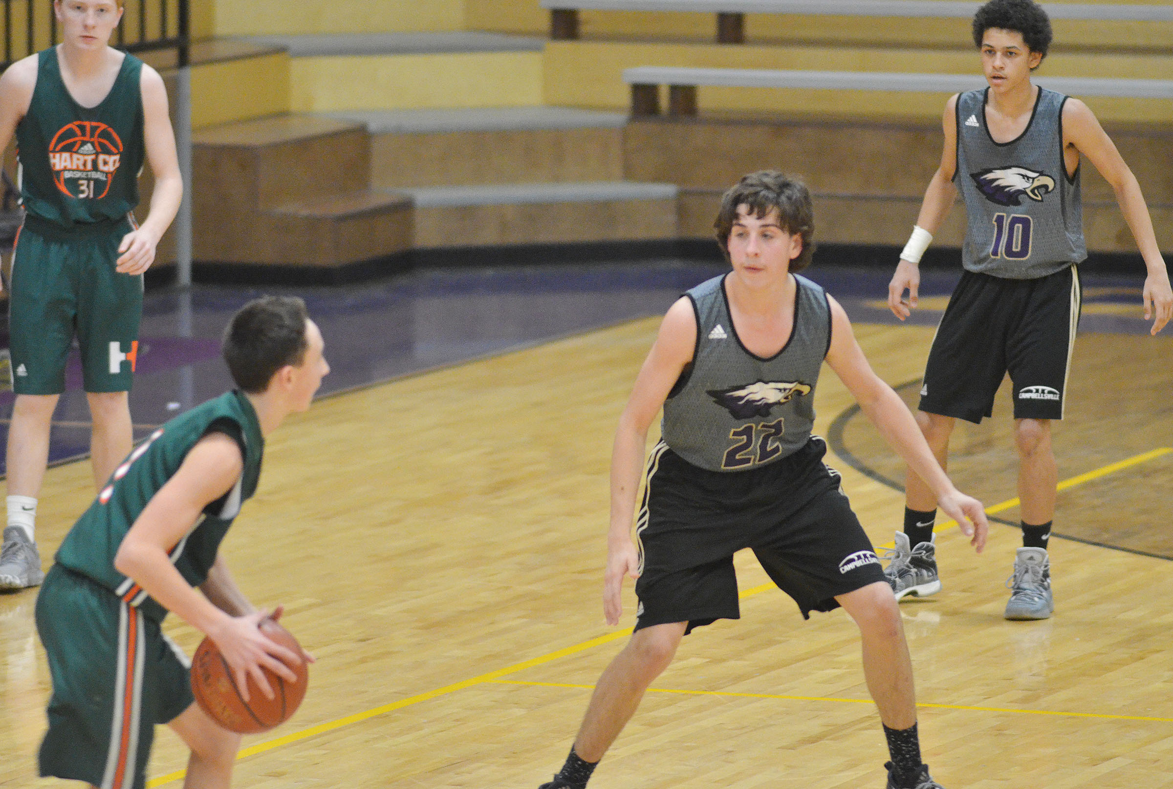 Campbellsville Middle School eighth-grader John Orberson plays defense.