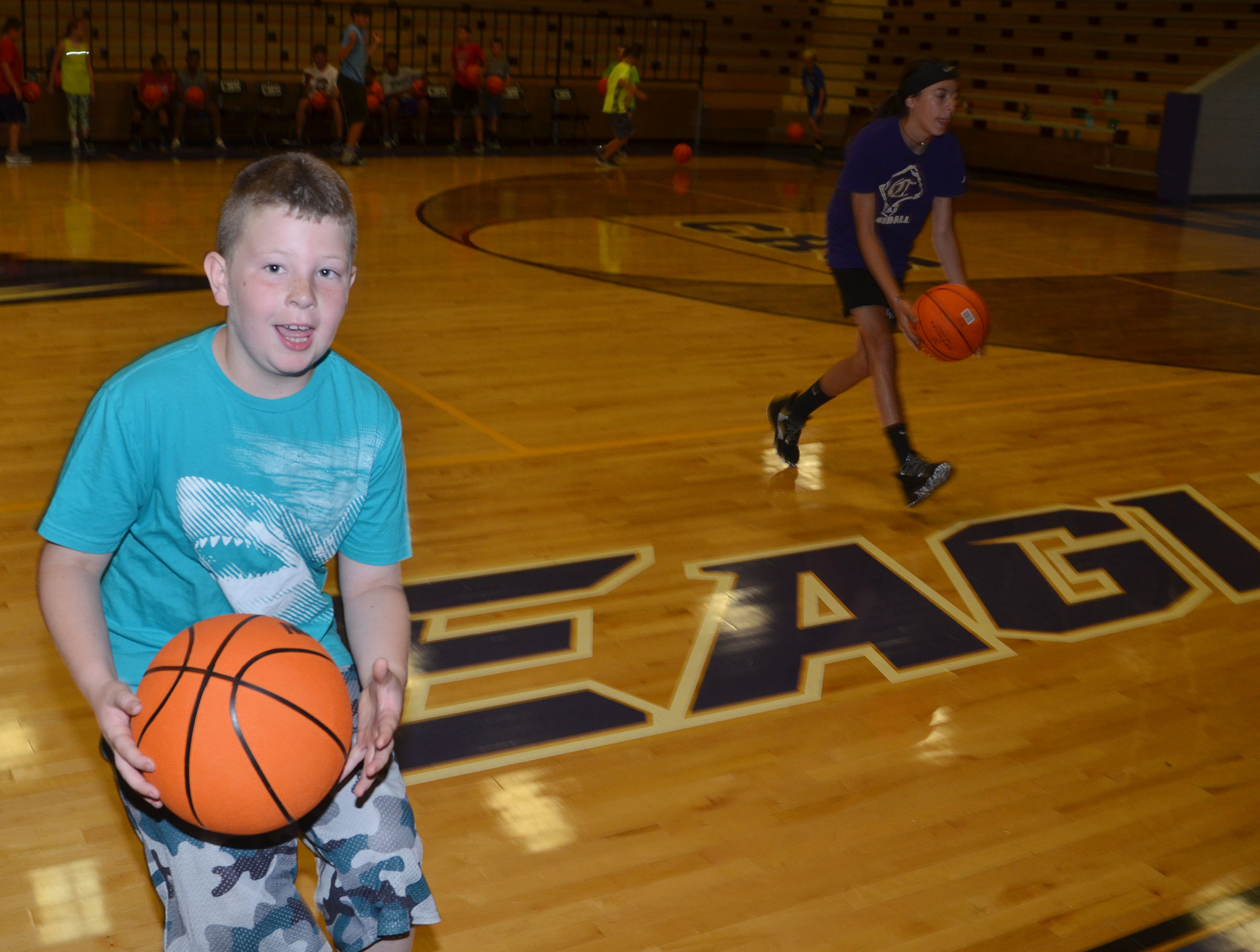 Lucas Gribbins practices ball handling.