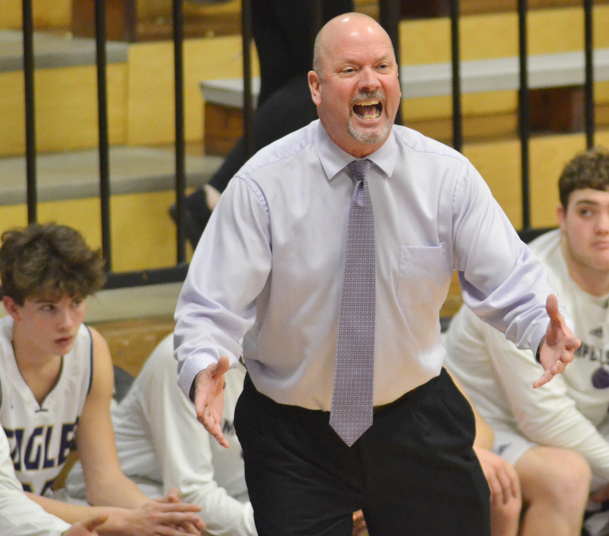 CHS boys' head basketball coach Tim Davis disagrees with a call.