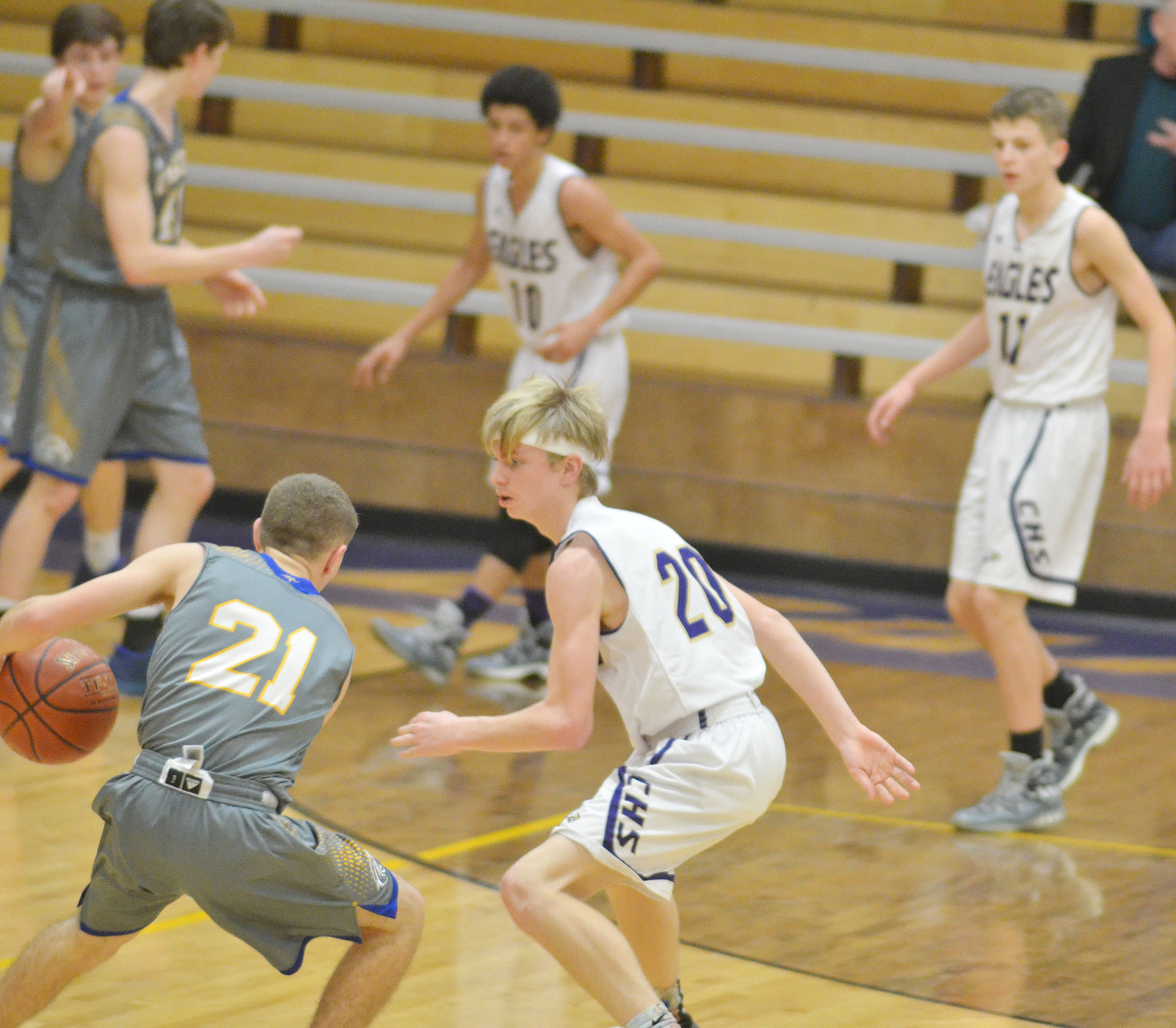 Campbellsville Middle School eighth-grader Arren Hash plays defense.