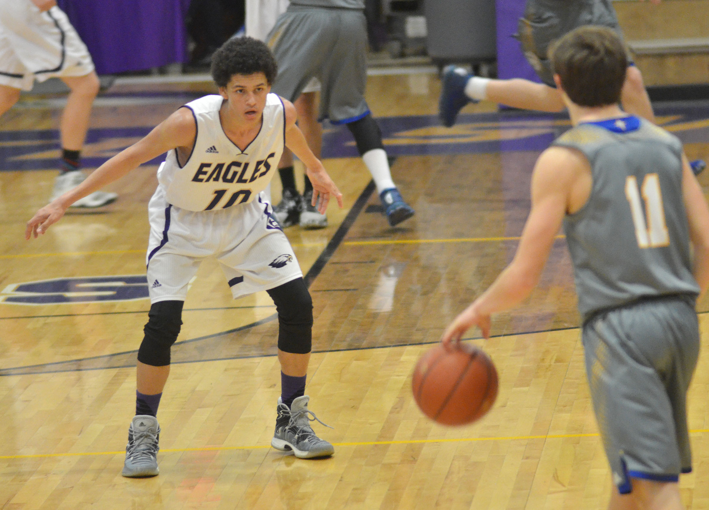 CHS freshman Mikael Vaught plays defense.