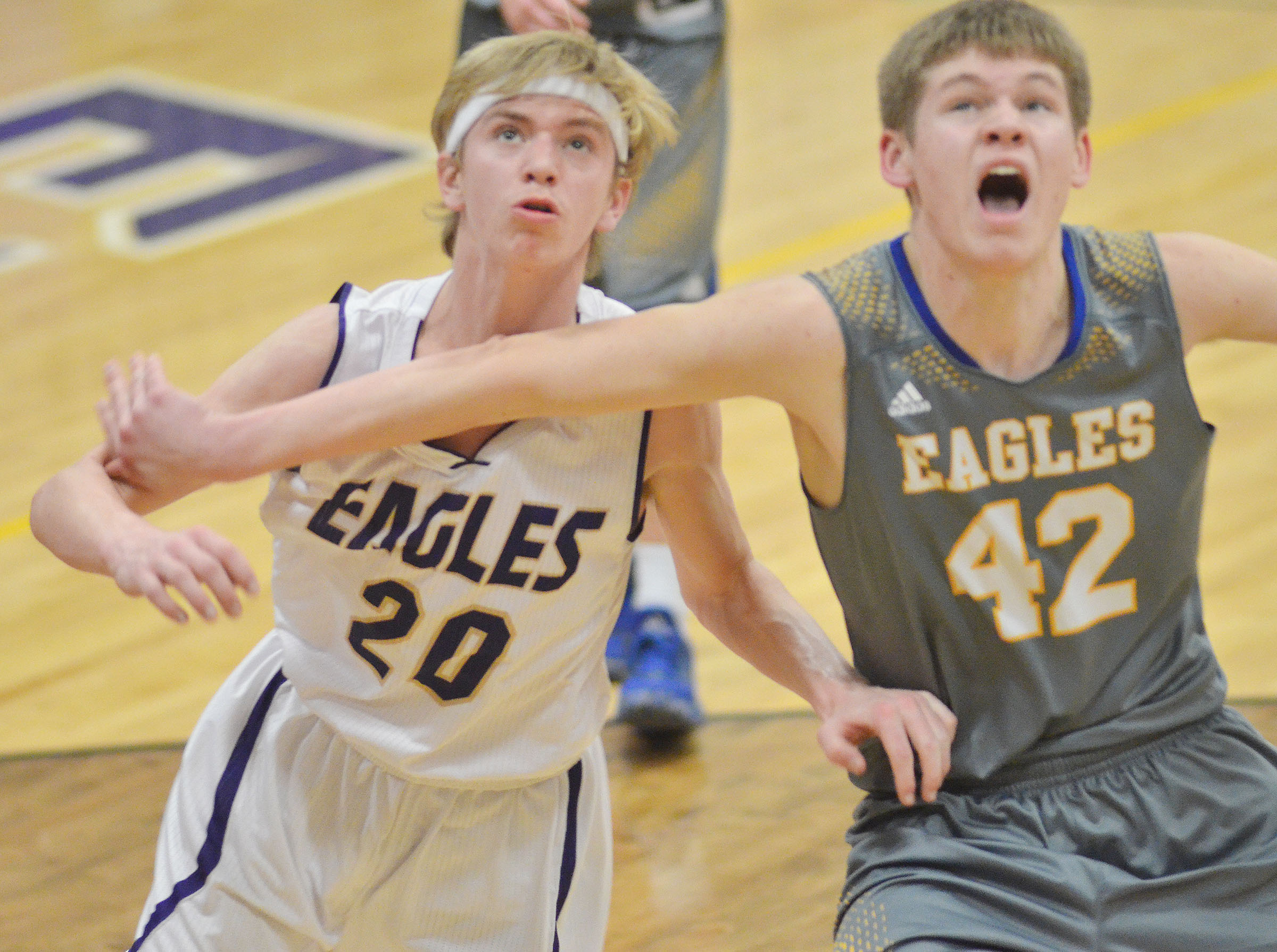 Campbellsville Middle School eighth-grader Arren Hash battles for a rebound.