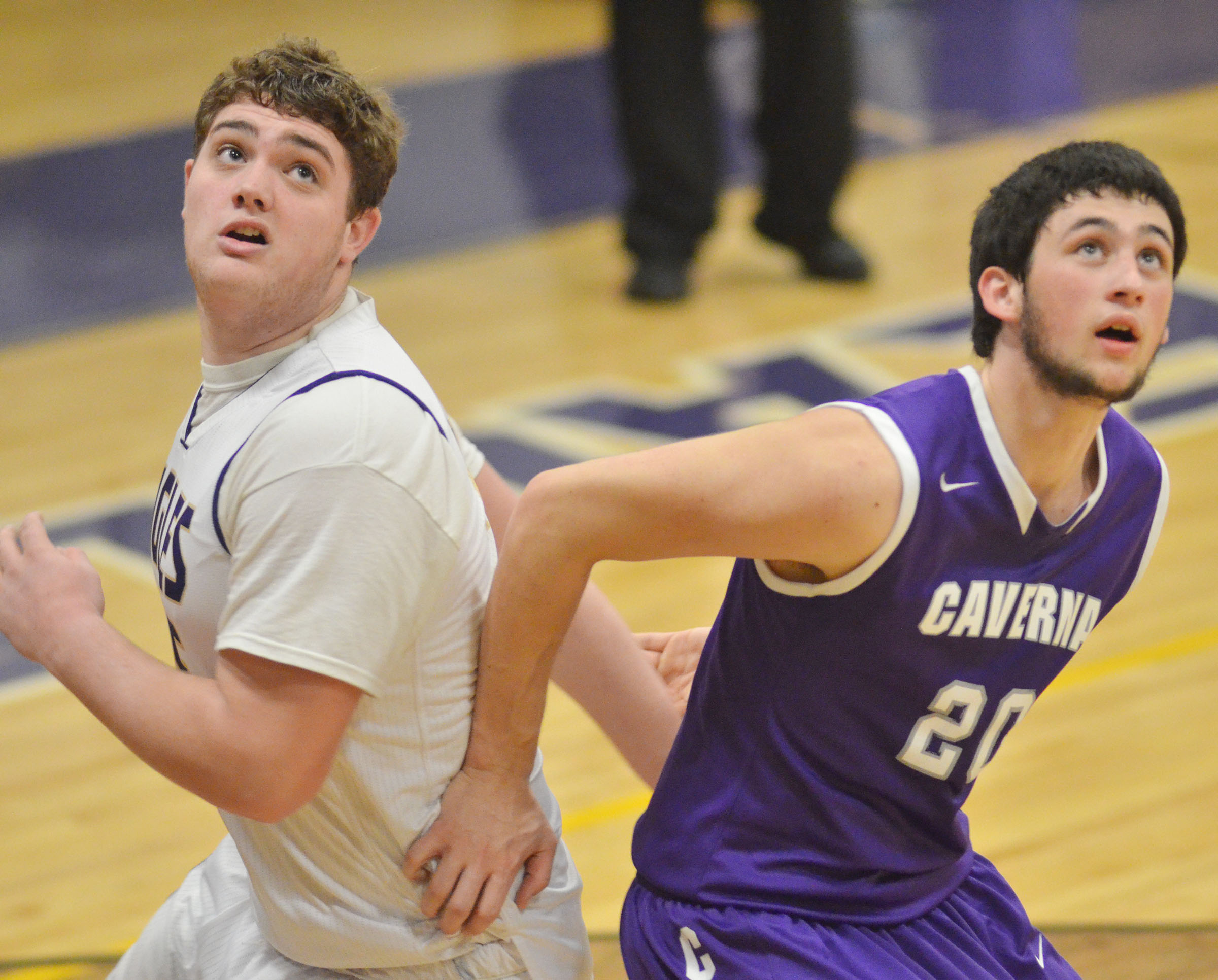 CHS sophomore Lane Bottoms looks for the rebound.
