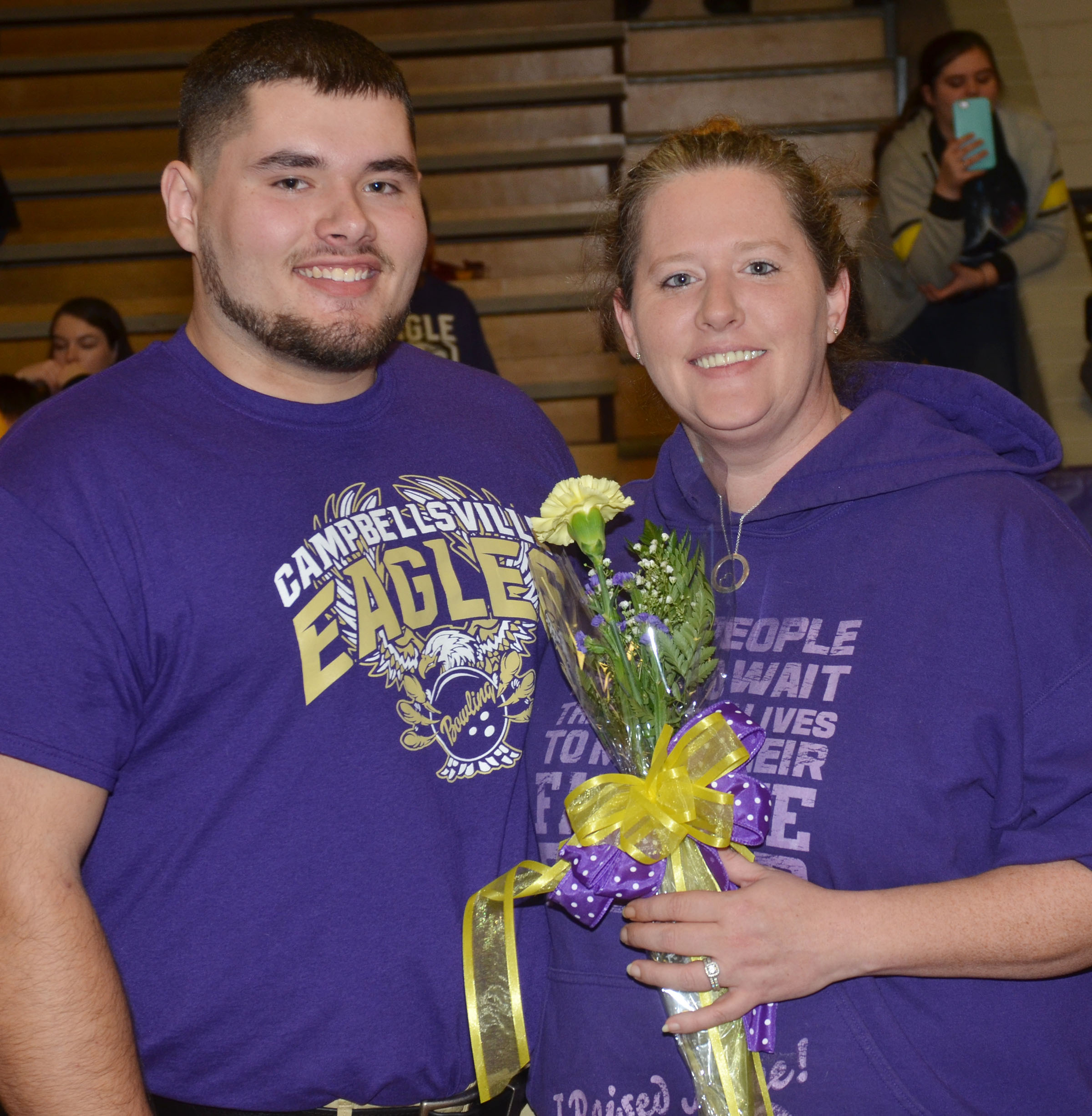 CHS senior bowling team member Logan Brown is honored. He is pictured with his mother, Krissy Welch.