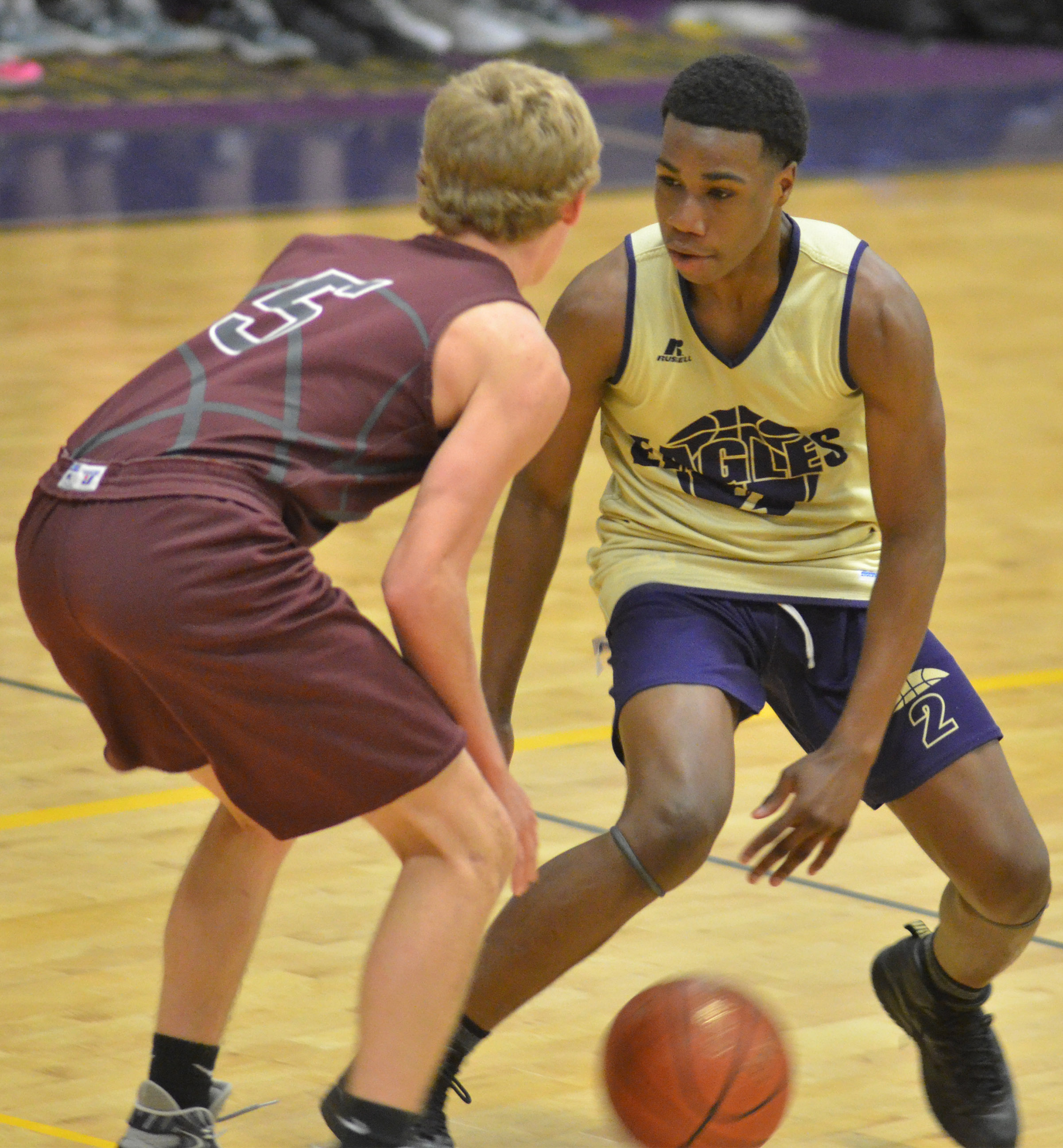 CHS sophomore Malachi Corley dribbles.