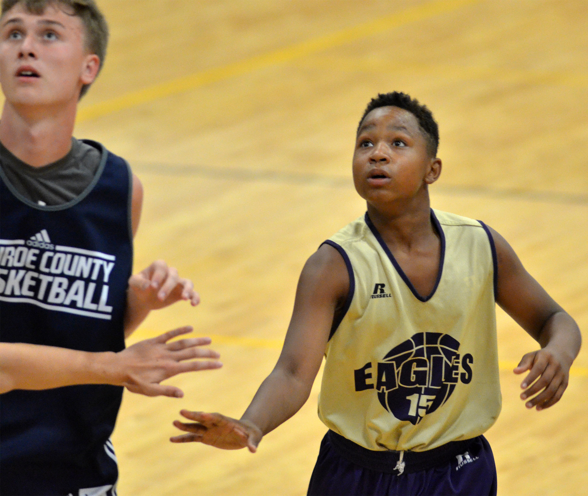 Campbellsville Middle School sixth-grader Deondre Weathers looks for a rebound.