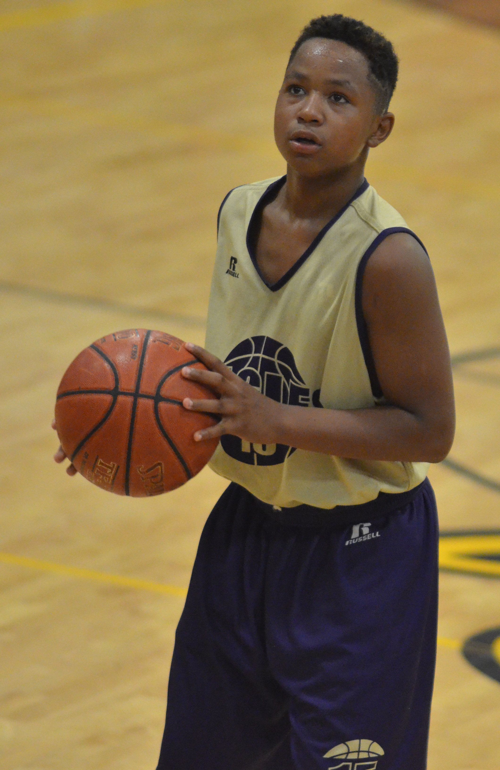 Campbellsville Middle School sixth-grader Deondre Weathers shoots the ball.