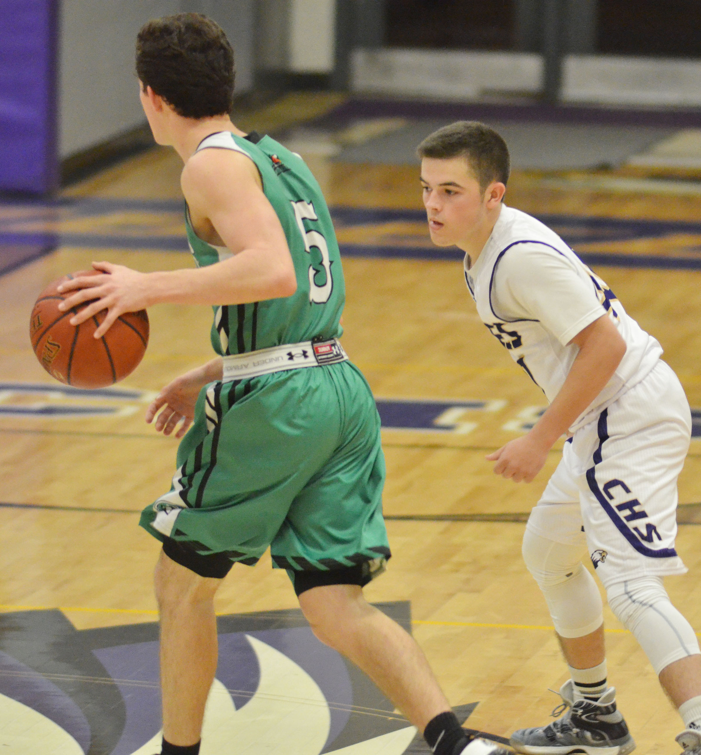 CHS sophomore Ryan Kearney watches the ball.