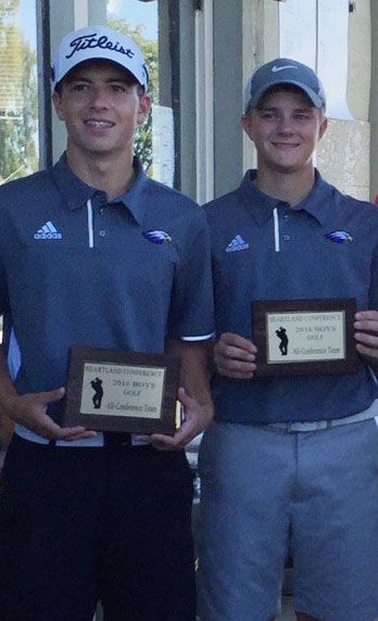 CHS boys' golf players sophomore Layton Hord, at left, and junior Alex Doss finished in third and second place, respectively, and were named to the all-conference team.