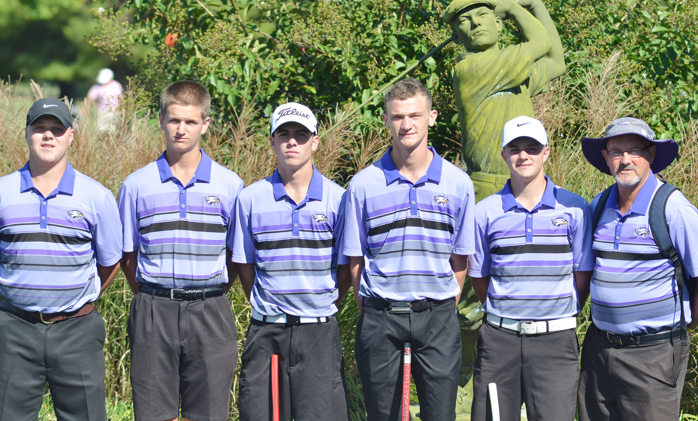 CHS boys' golf team competed in the KHSAA state tournament on Friday, Oct. 7, for its first appearance since 1977. From left are senior Noah Wagers, sophomores Myles Murrell and Layton Hord, juniors Connor Wilson and Alex Doss and coach Jim Ward.