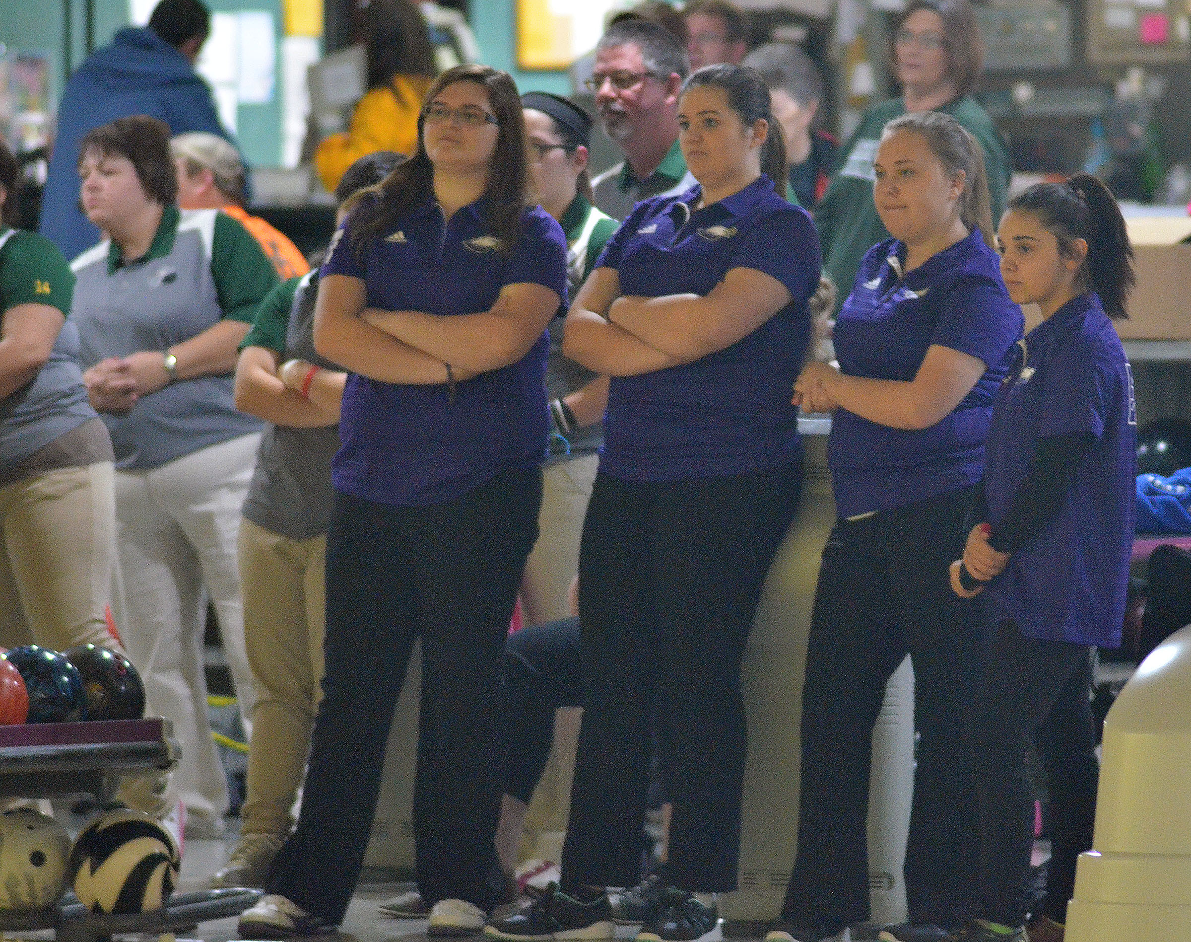 From left, CHS senior Vera Brown, juniors Vivian Brown and Haley Fitch and freshman Fatimah Alabusalim watch as the Green County team bowls.