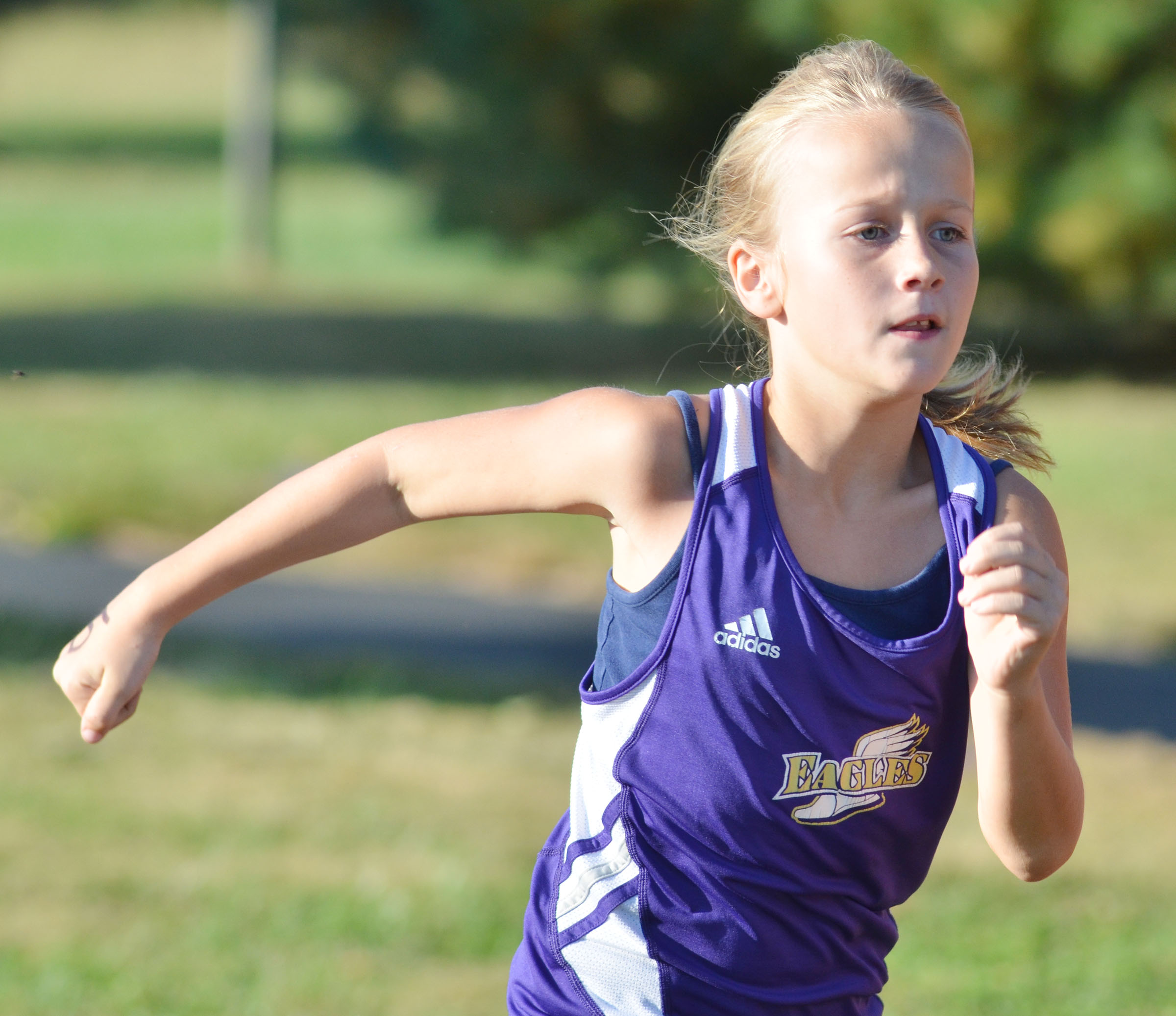 CMS fourth-grader Abbie Oliver runs.