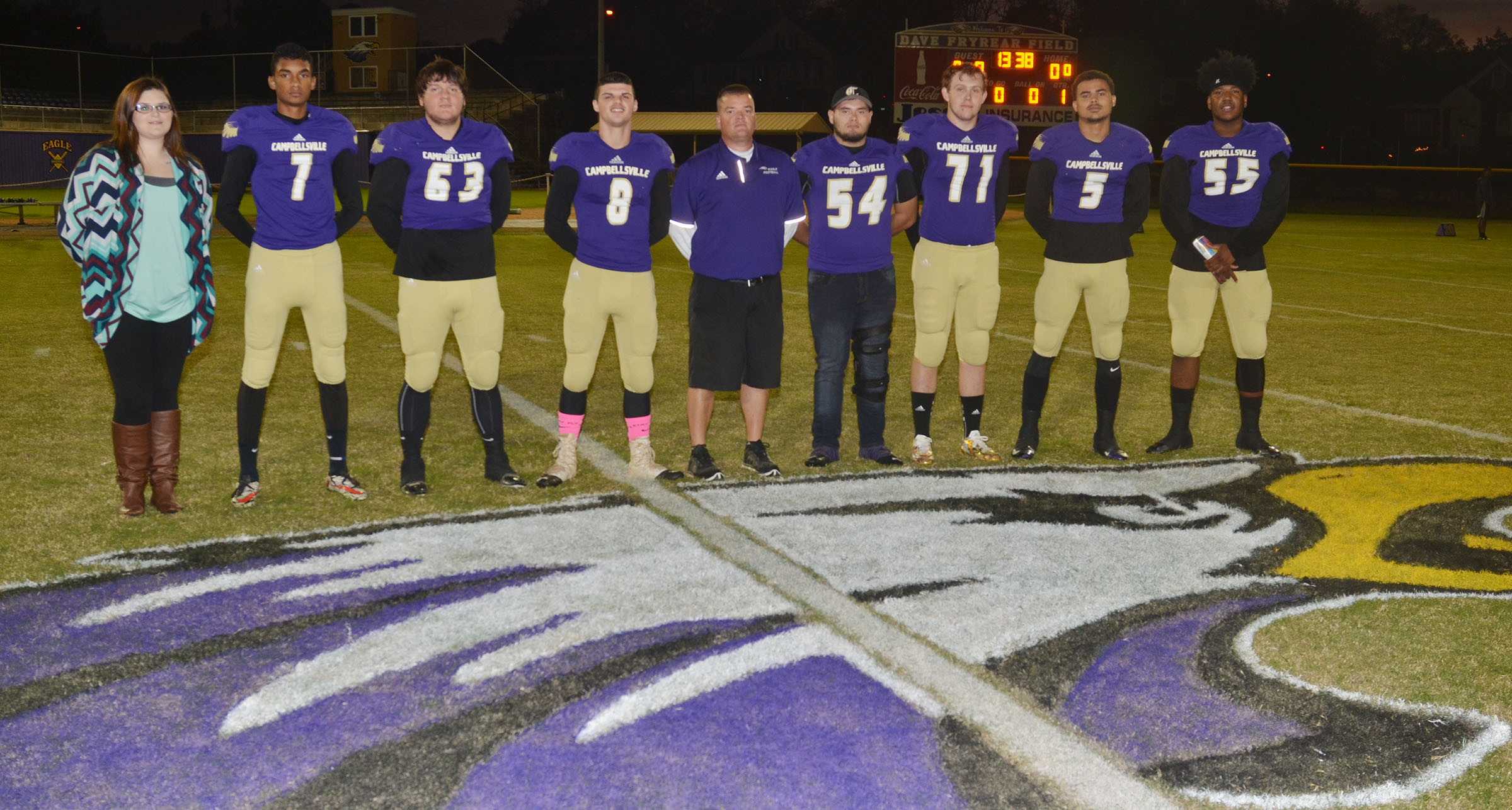 This year's CHS football seniors are, from left, manager Vera Brown, Daniel Silva, Donnie Osinger, Stone Williams, head coach Dale Estes, Logan Brown, Jared Brewster, Arick Groves and Micah Corley.
