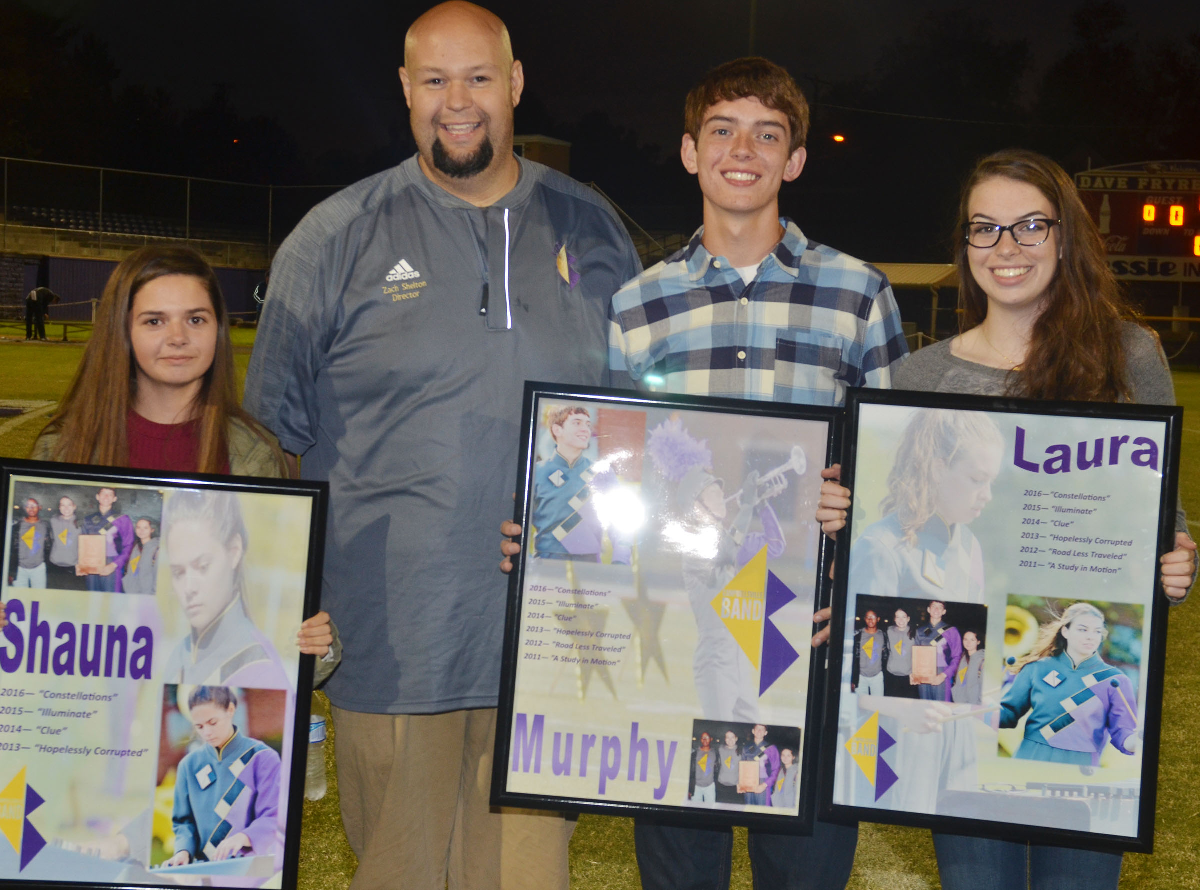This year's CHS marching band seniors are, from left, Shauna Jones, band director Zach Shelton, Murphy Lamb and Laura Lamb. Absent from the photo is Jaleel Cowan.