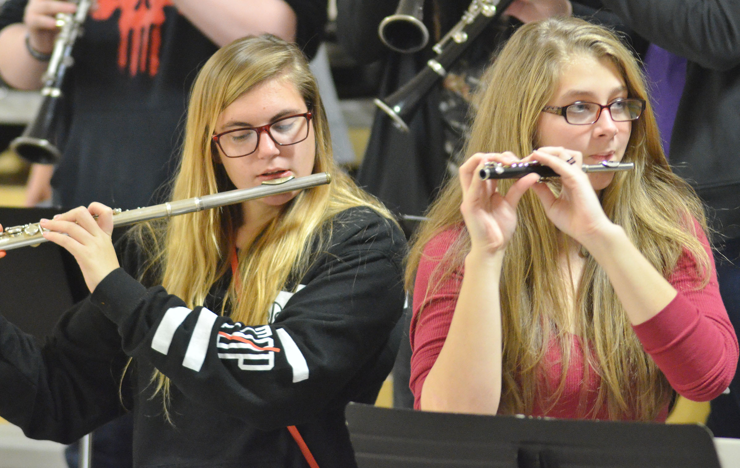 CHS junior Tiffany Kane, at left, and senior Alexis Underwood play with the CHS Pep Band.