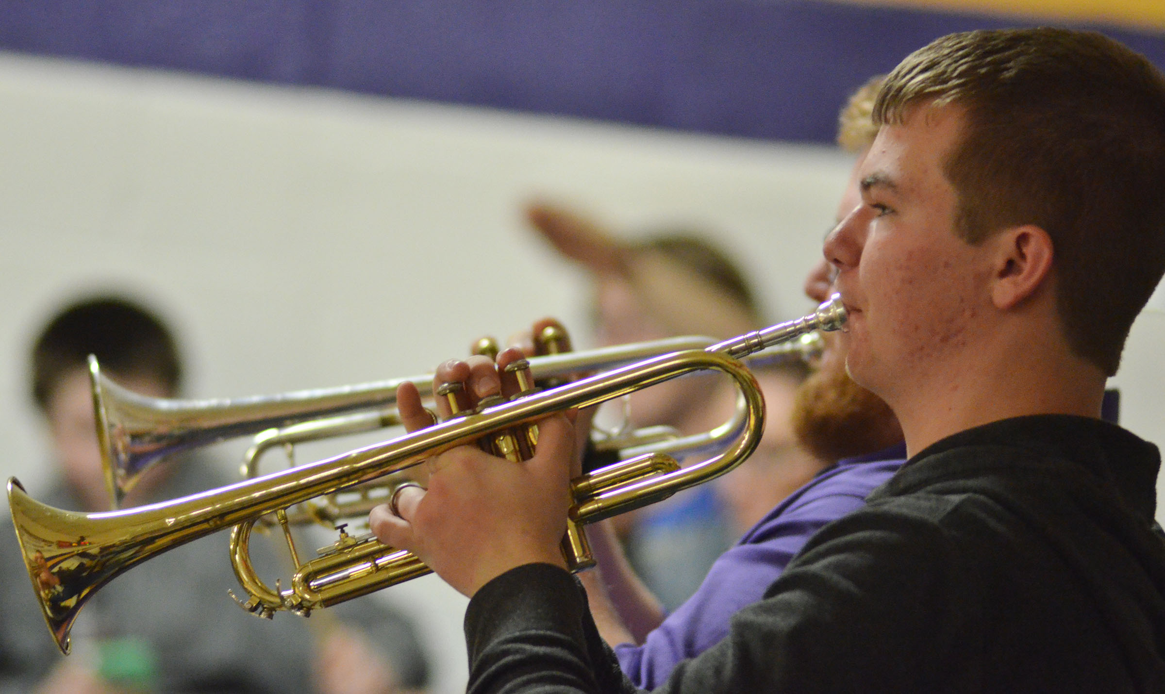 CHS sophomore Josh Dooley plays trumpet with the CHS Pep Band.