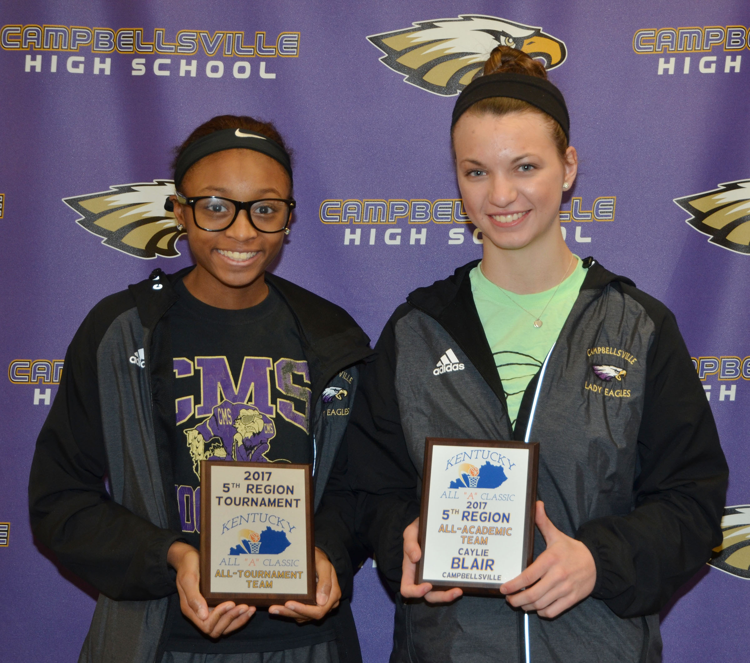 "Campbellsville Middle School seventh-grader Bri Gowdy, at left, was named to the fifth region All ""A"" Classic all-tournament team. CHS senior Caylie Blair, at right, was named to the fifth region all-academic team."