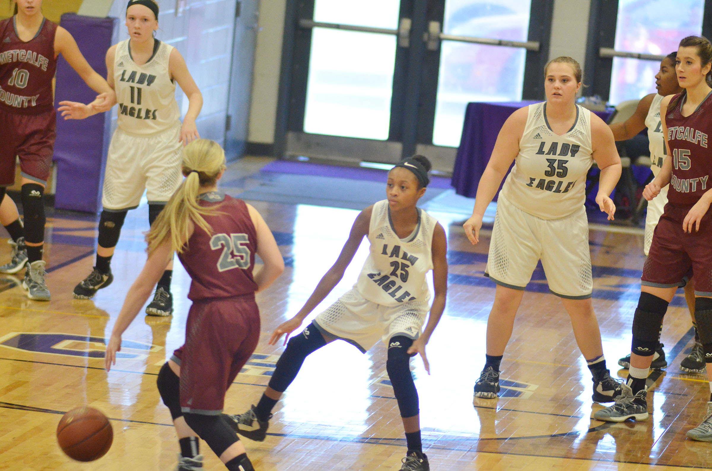 Campbellsville Middle School seventh-grader Bri Gowdy plays defense.