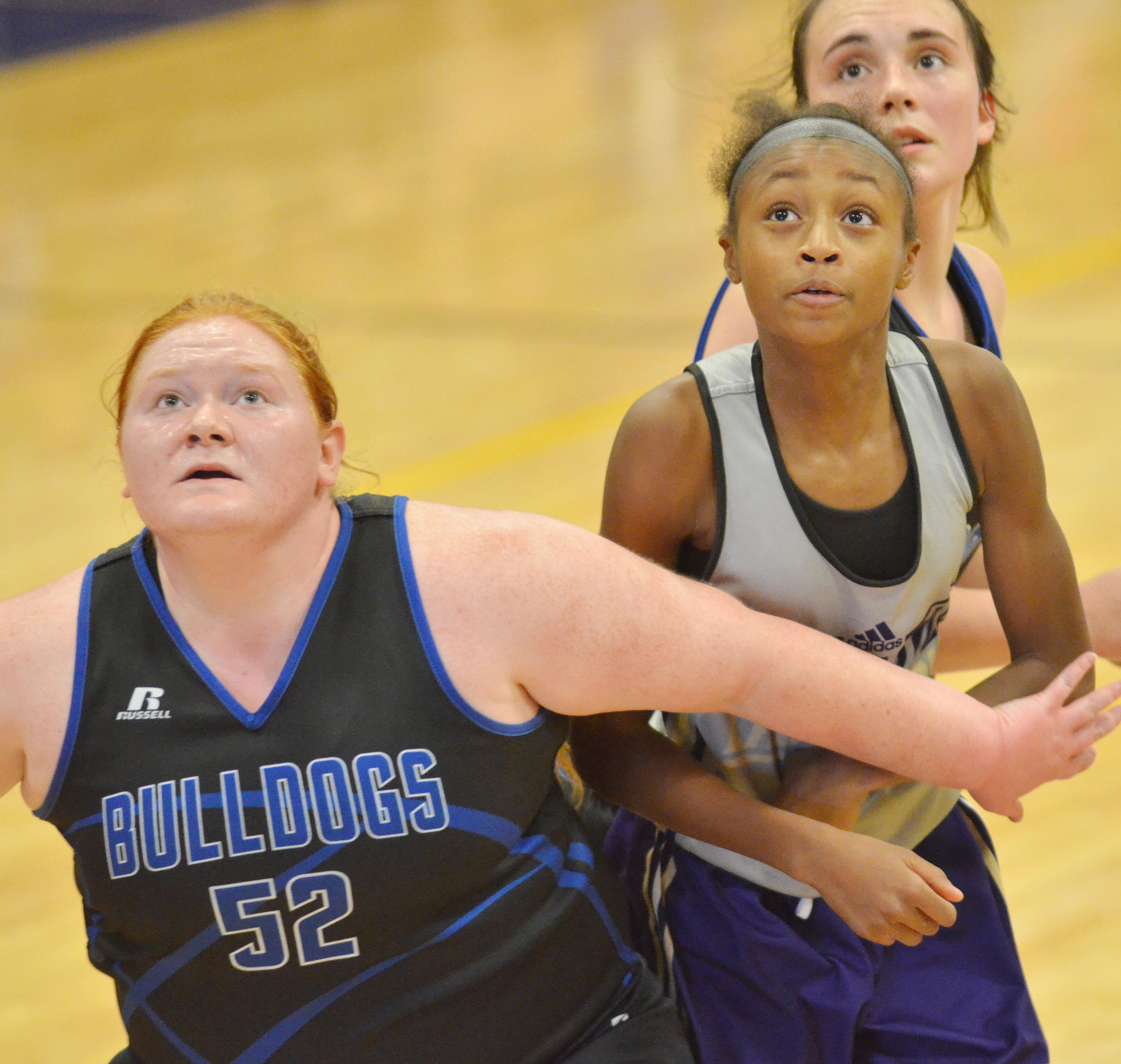 Campbellsville Middle School seventh-grader Bri Gowdy looks for a rebound.
