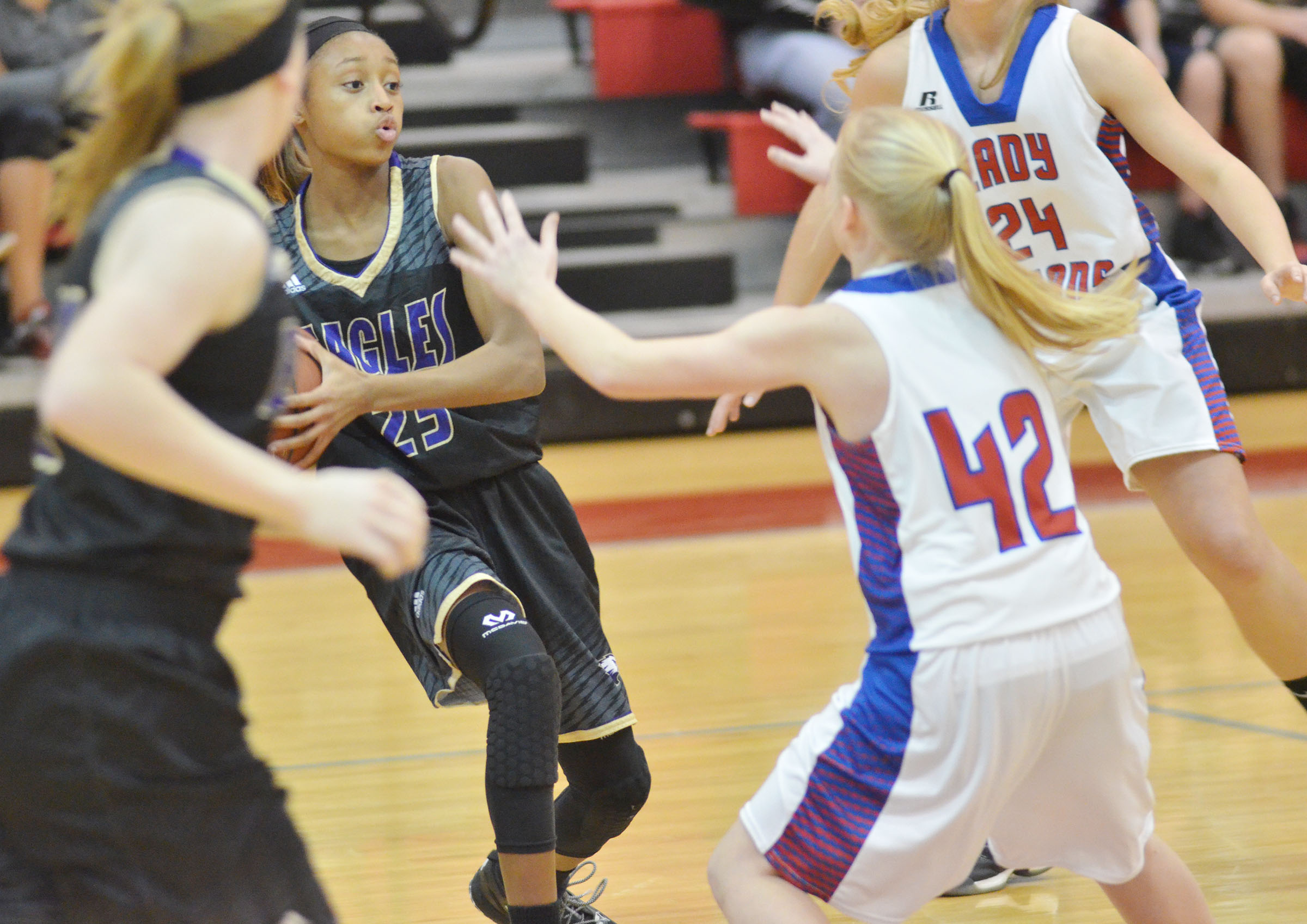 Campbellsville Middle School seventh-grader Bri Gowdy protects the ball.