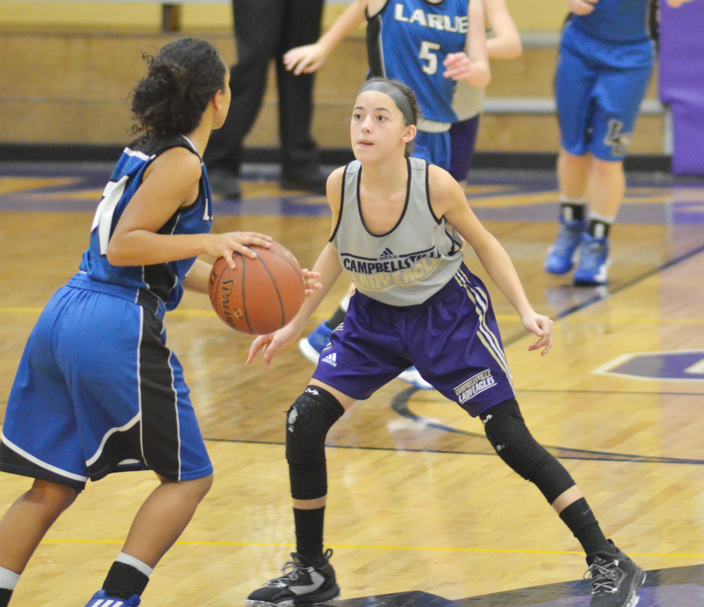 Campbellsville Middle School seventh-grader Kaylyn Smith plays defense.