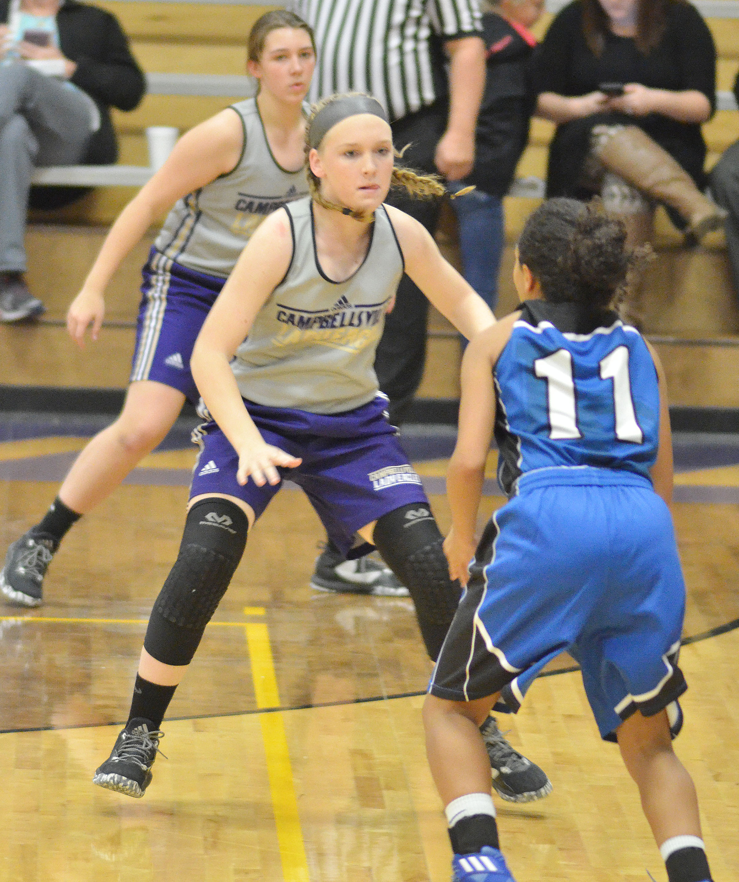 Campbellsville Middle School eighth-grader Catlyn Clausen plays defense.