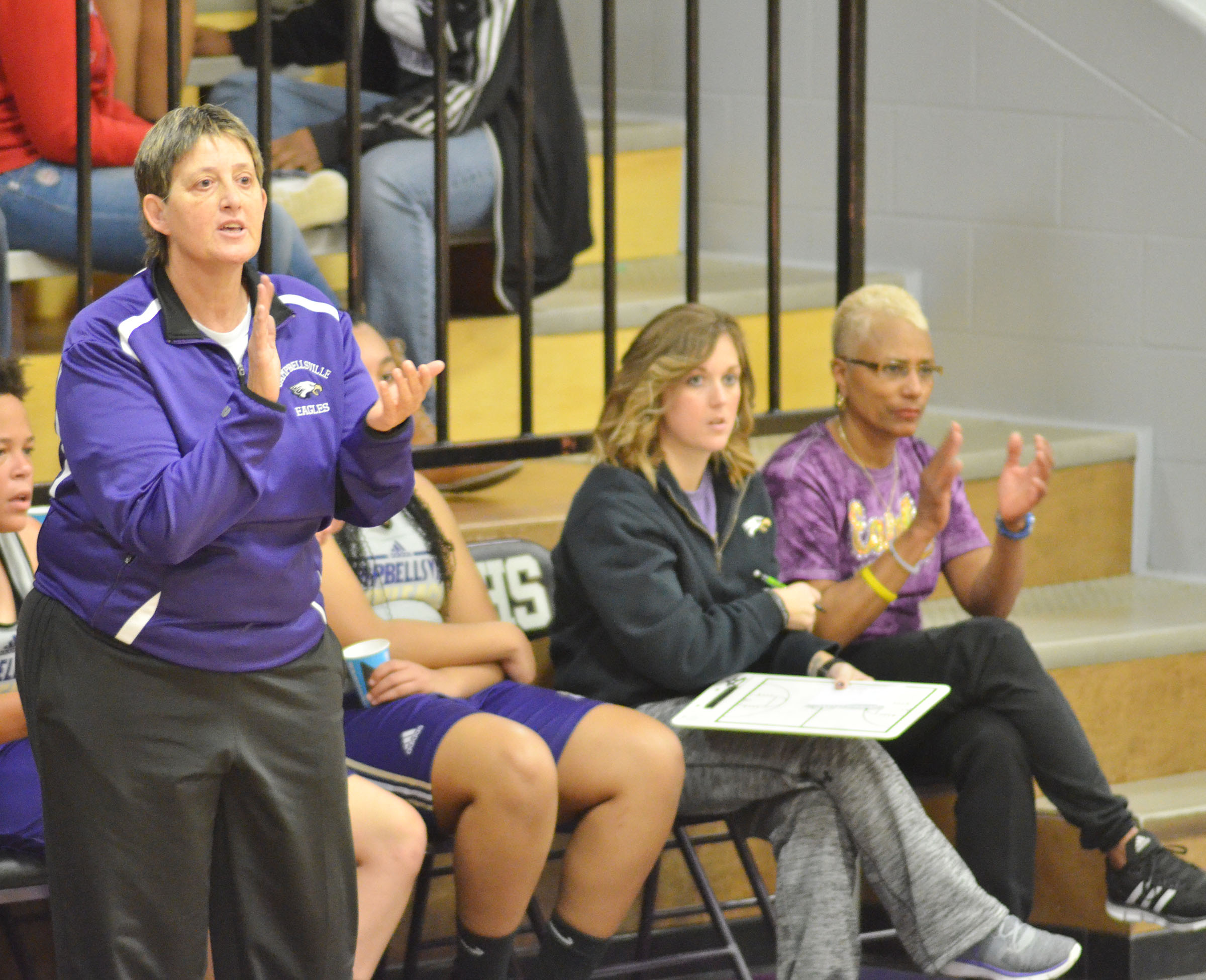 CHS girls' JV coach Katie Wilkerson cheers for her team.