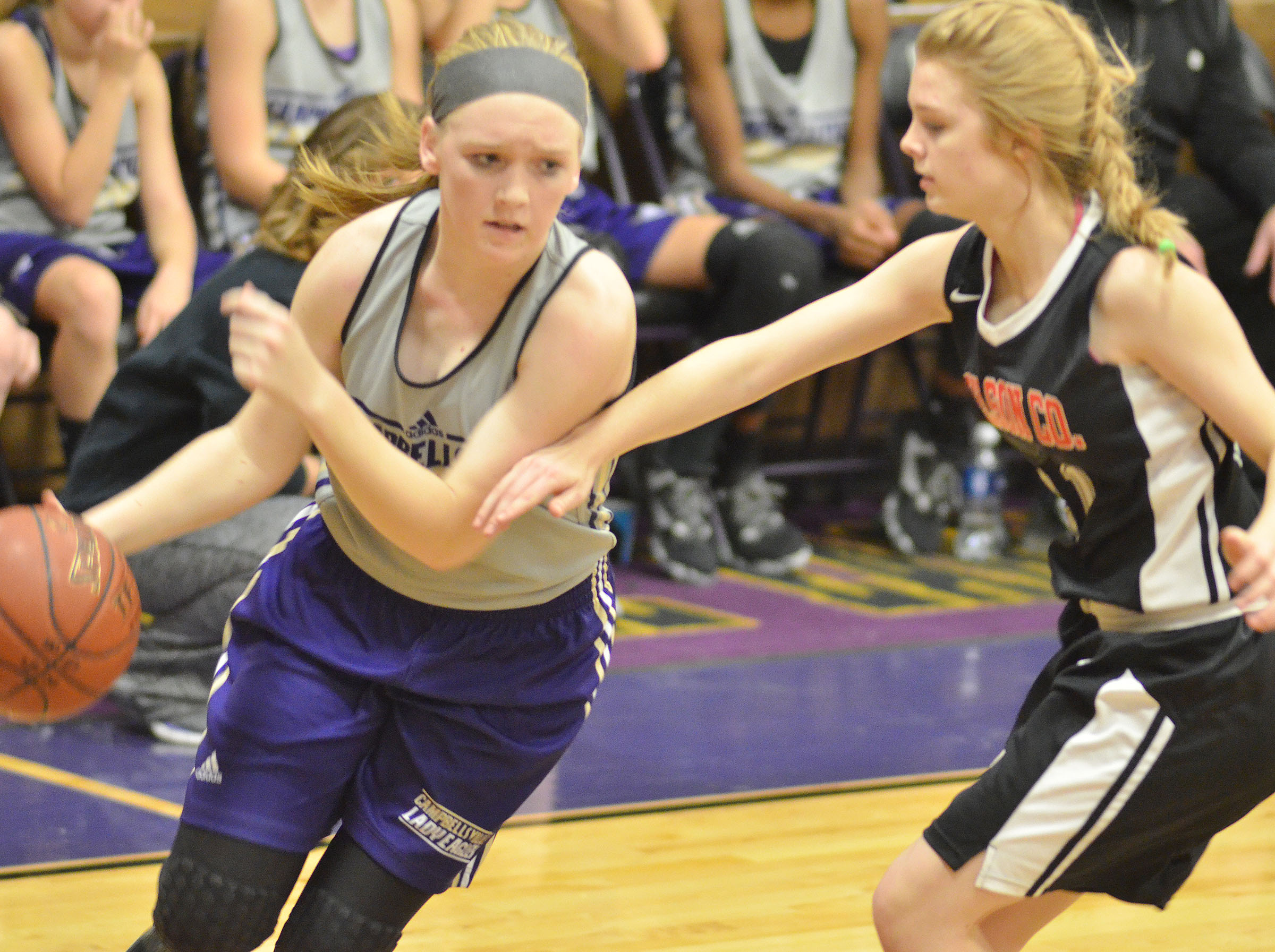 Campbellsville Middle School eighth-grader Catlyn Clausen drives the ball.