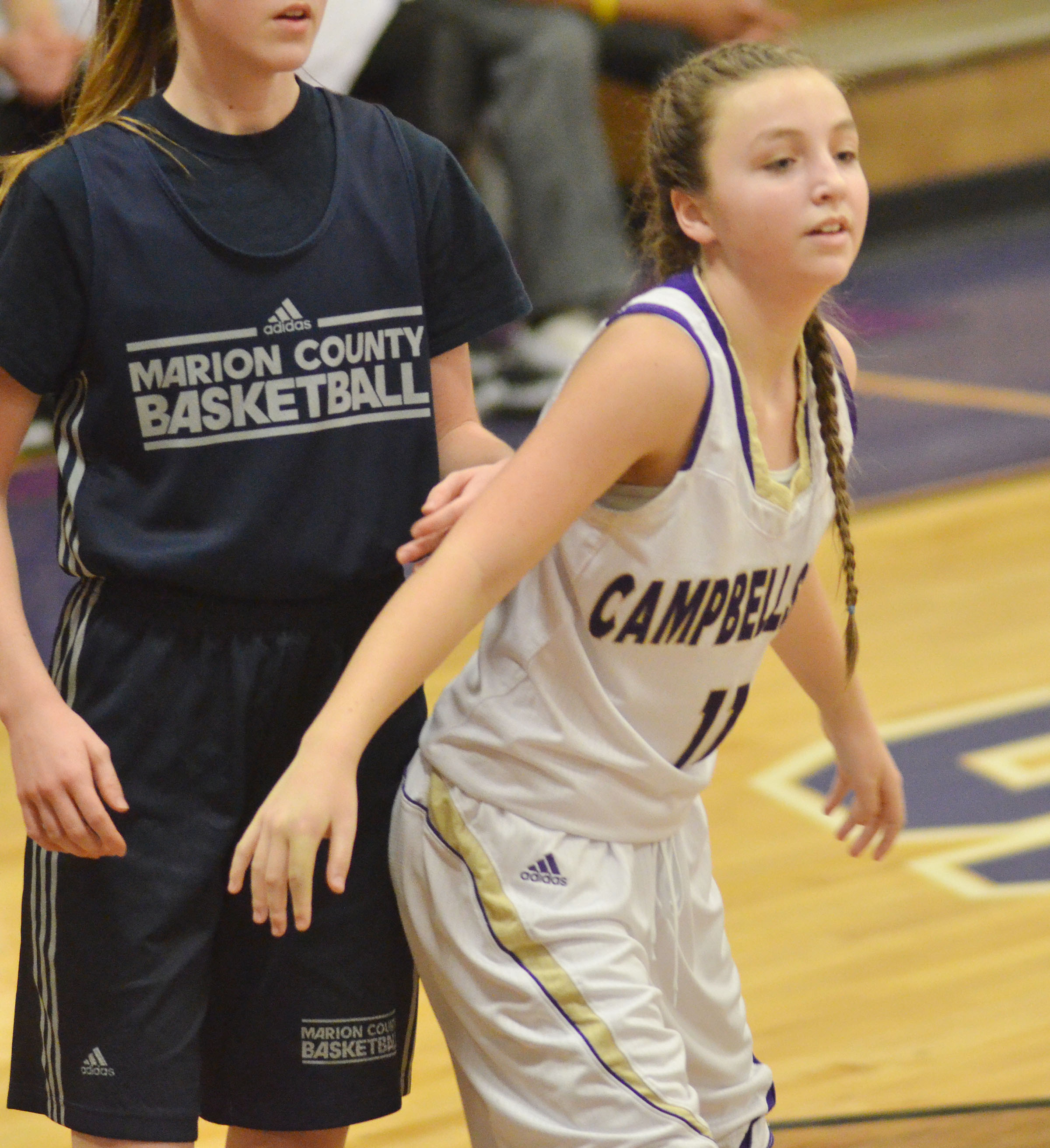 Campbellsville Middle School seventh-grader Lainey Watson plays defense.