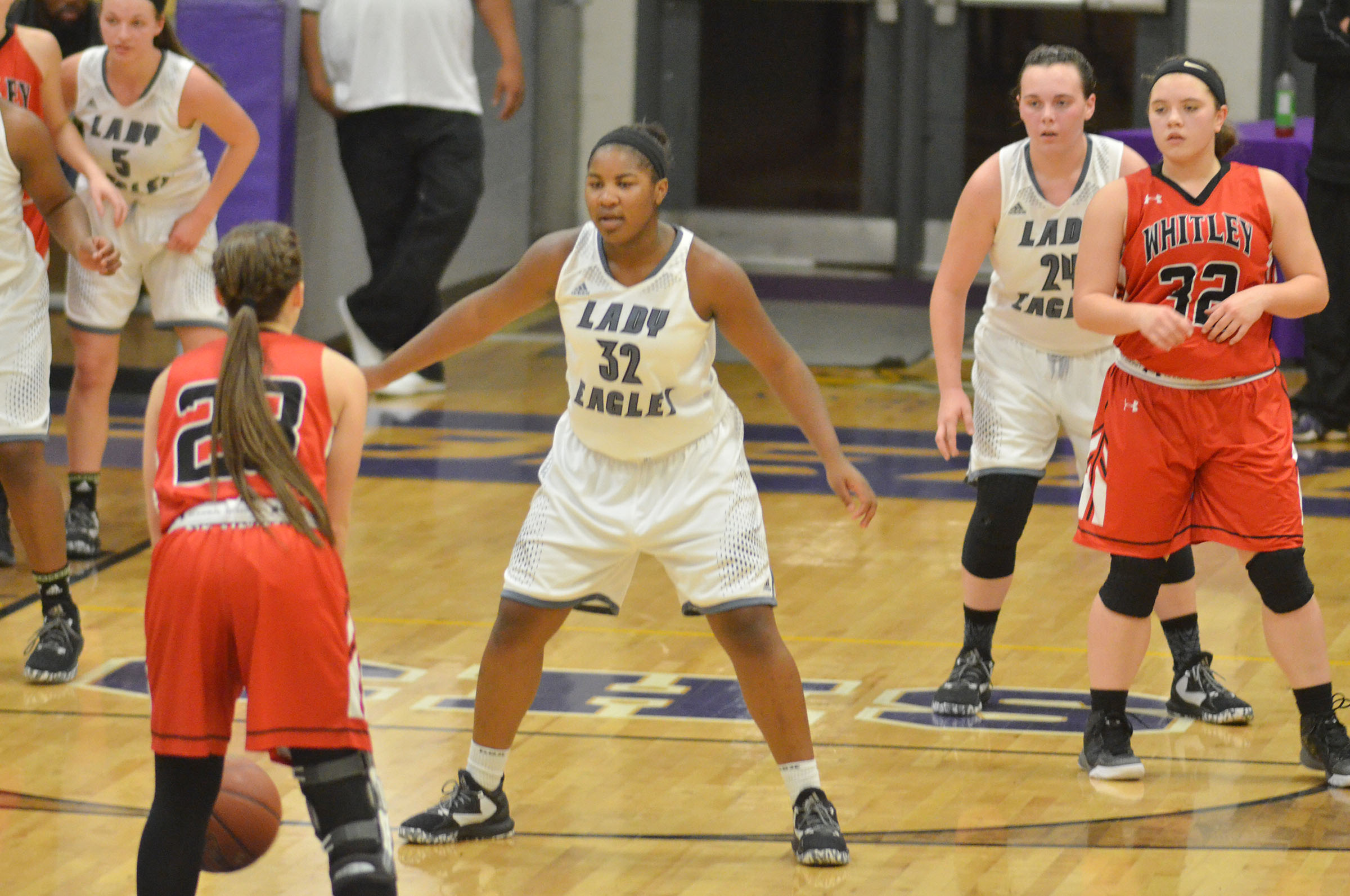 CHS junior Nena Barnett and freshman Katelyn Miller, at right, play defense.