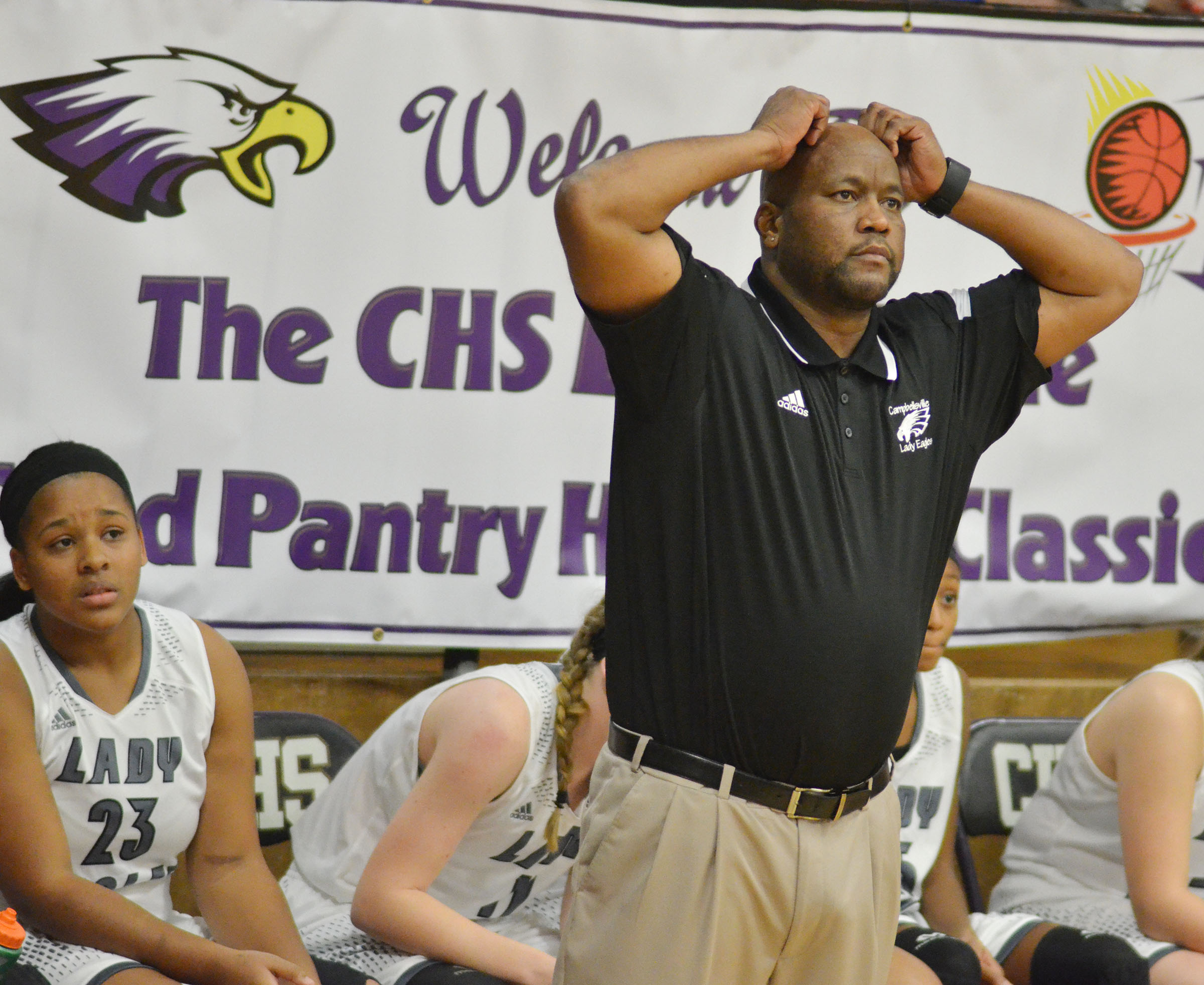 CHS girls' basketball head coach Anthony Epps reacts to a call.