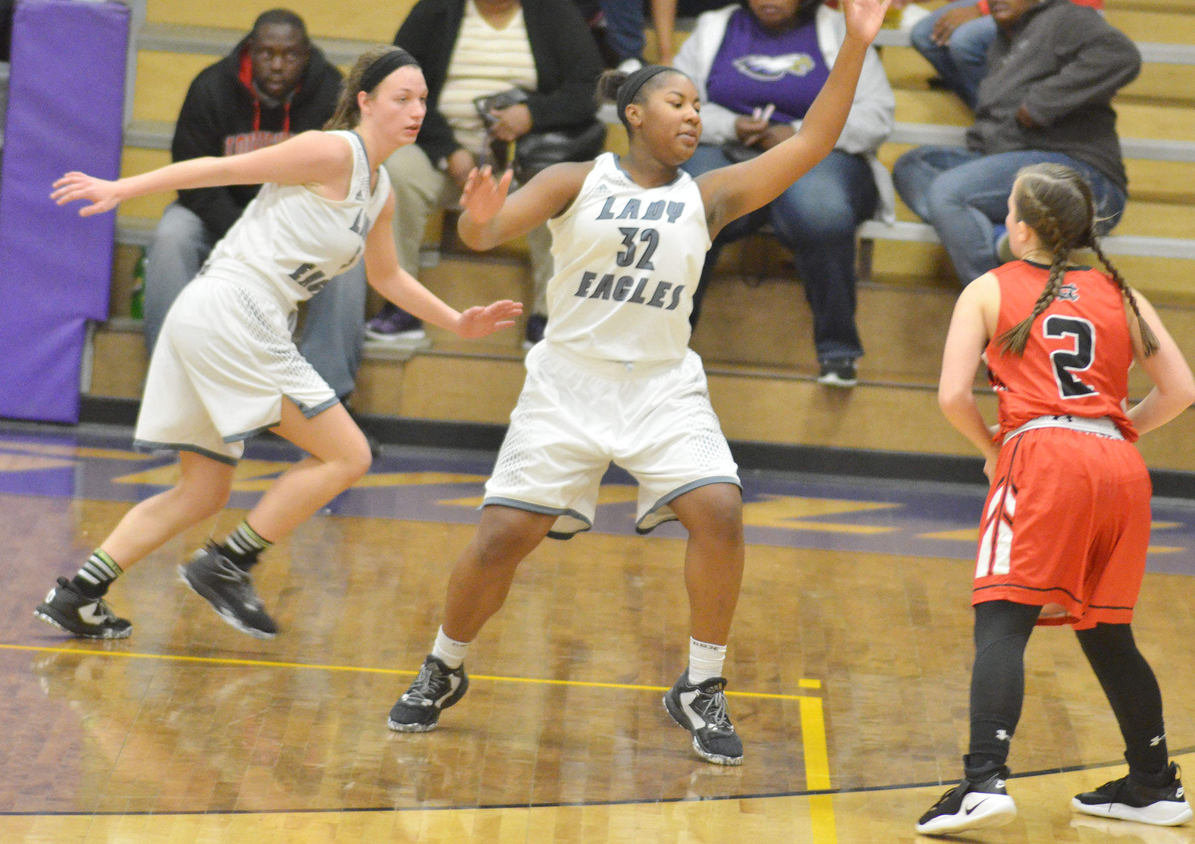 CHS senior Caylie Blair, at left, and junior Nena Barnett play defense.
