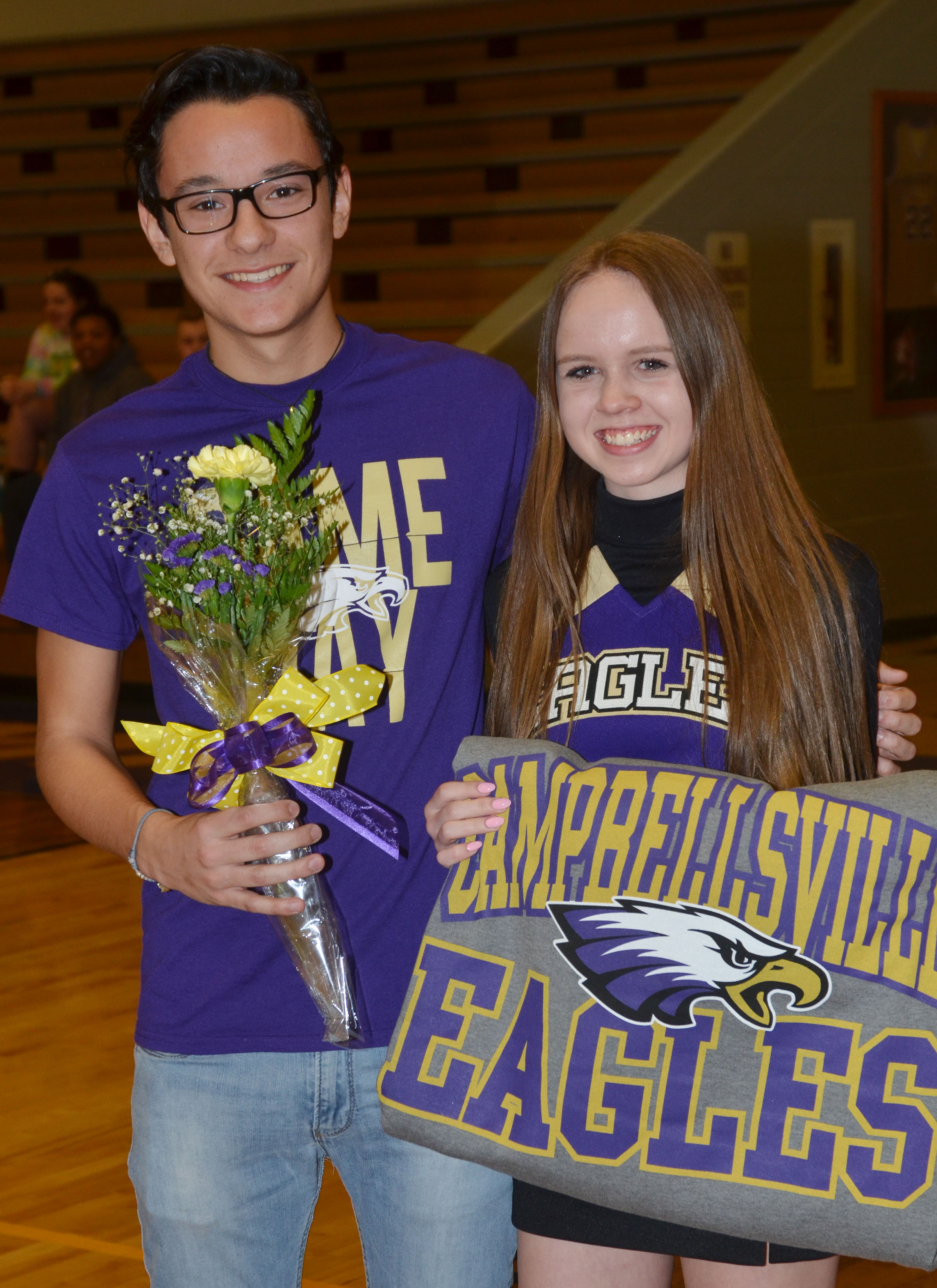 CHS cheerleader Lisa-Marie Richter, a junior and foreign exchange student, is honored. She is pictured with fellow foreign exchange student and CHS junior Matteo Rossi.