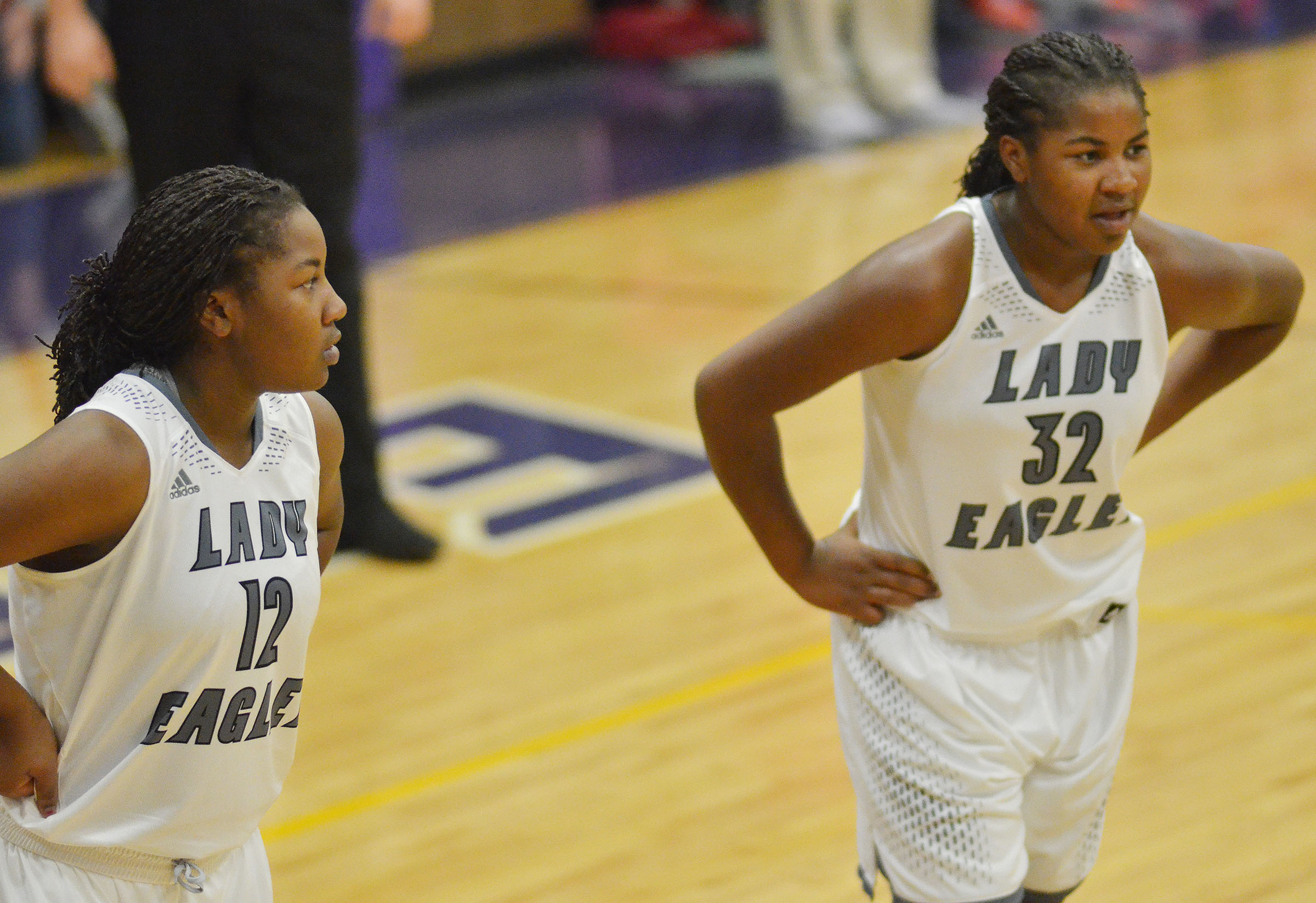 CHS juniors – and twin sisters – Kiyah Barnett, at left, and Nena Barnett get set for a play.