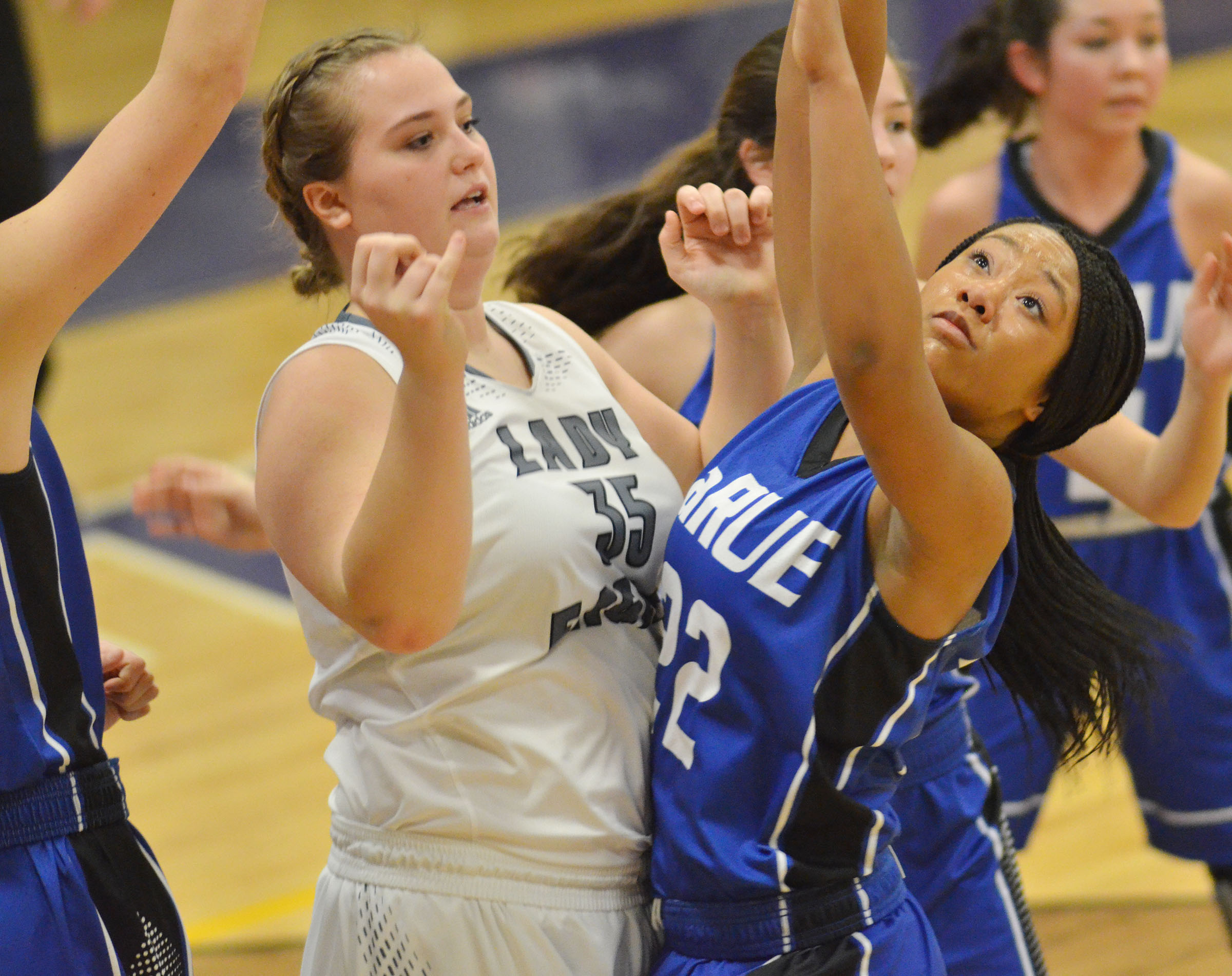 CHS senior Brenna Wethington battles for a rebound.