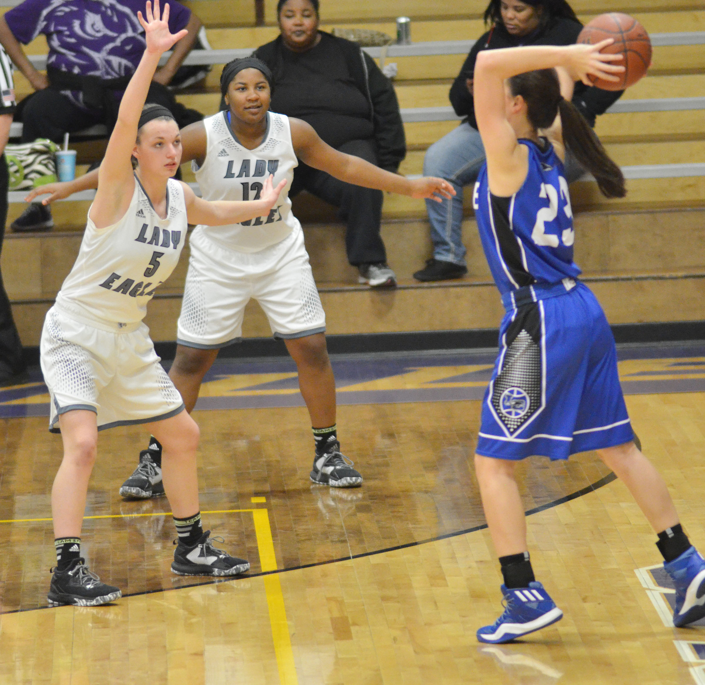 CHS senior Caylie Blair, at left, and junior Kiyah Barnett play defense.