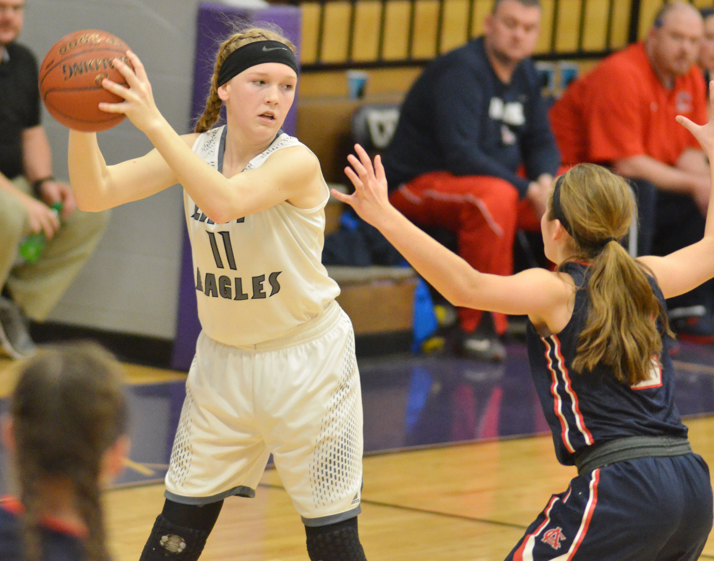 Campbellsville Middle School eighth-grader Catlyn Clausen looks to pass.