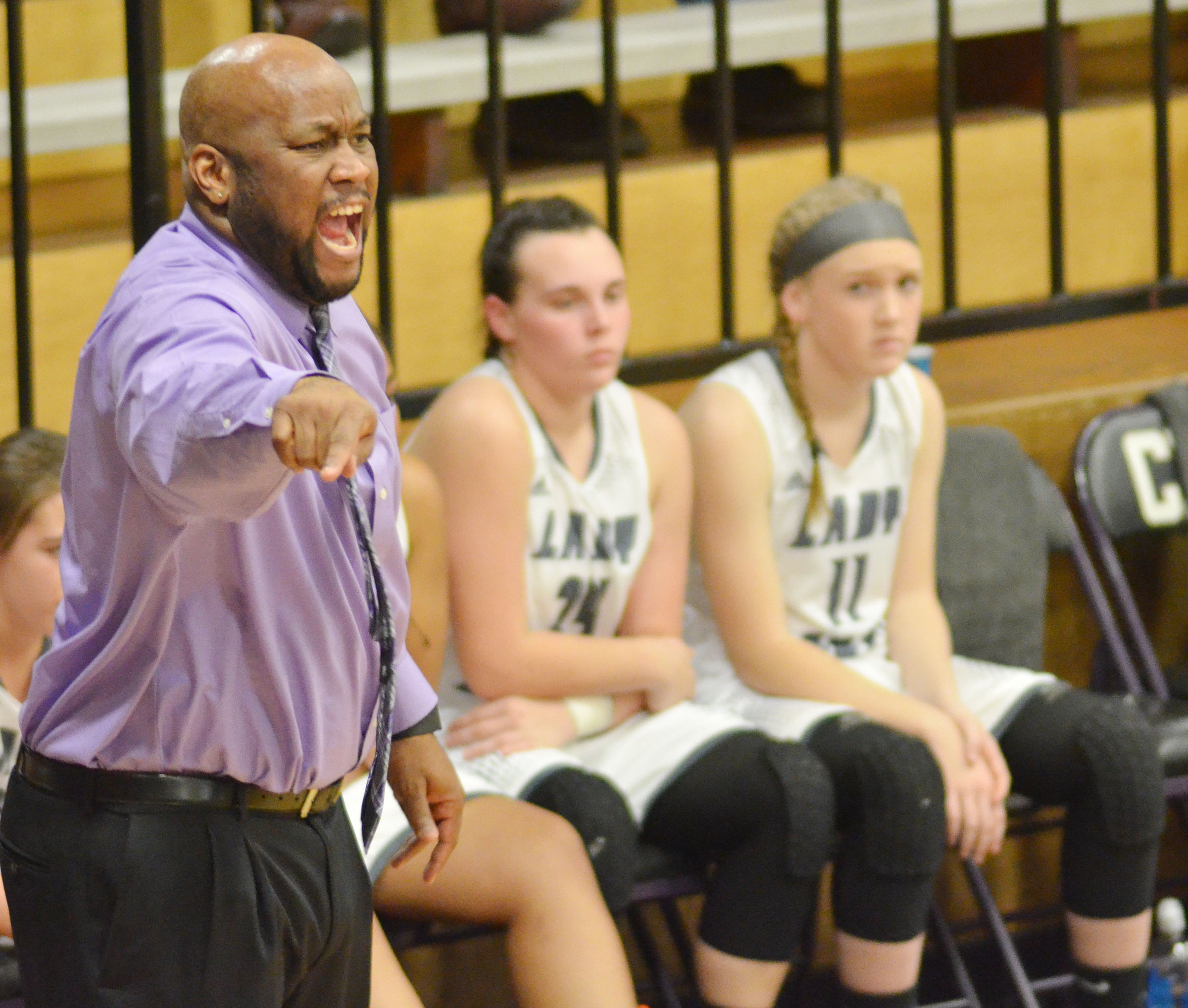 CHS girls' head basketball coach Anthony Epps yells to his players.