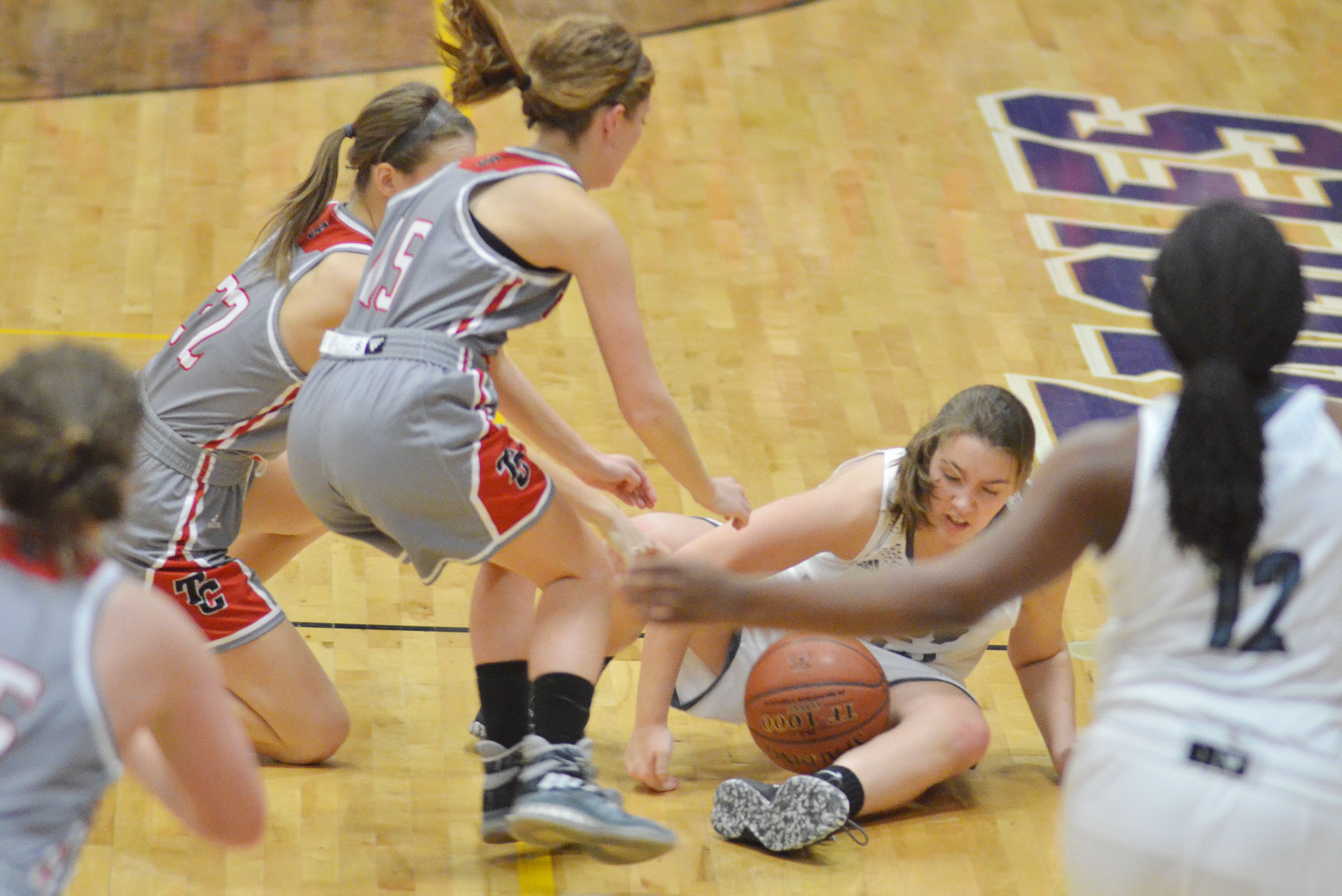 Campbellsville Middle School eighth-grader Abi Wiedewitsch fights for the ball.