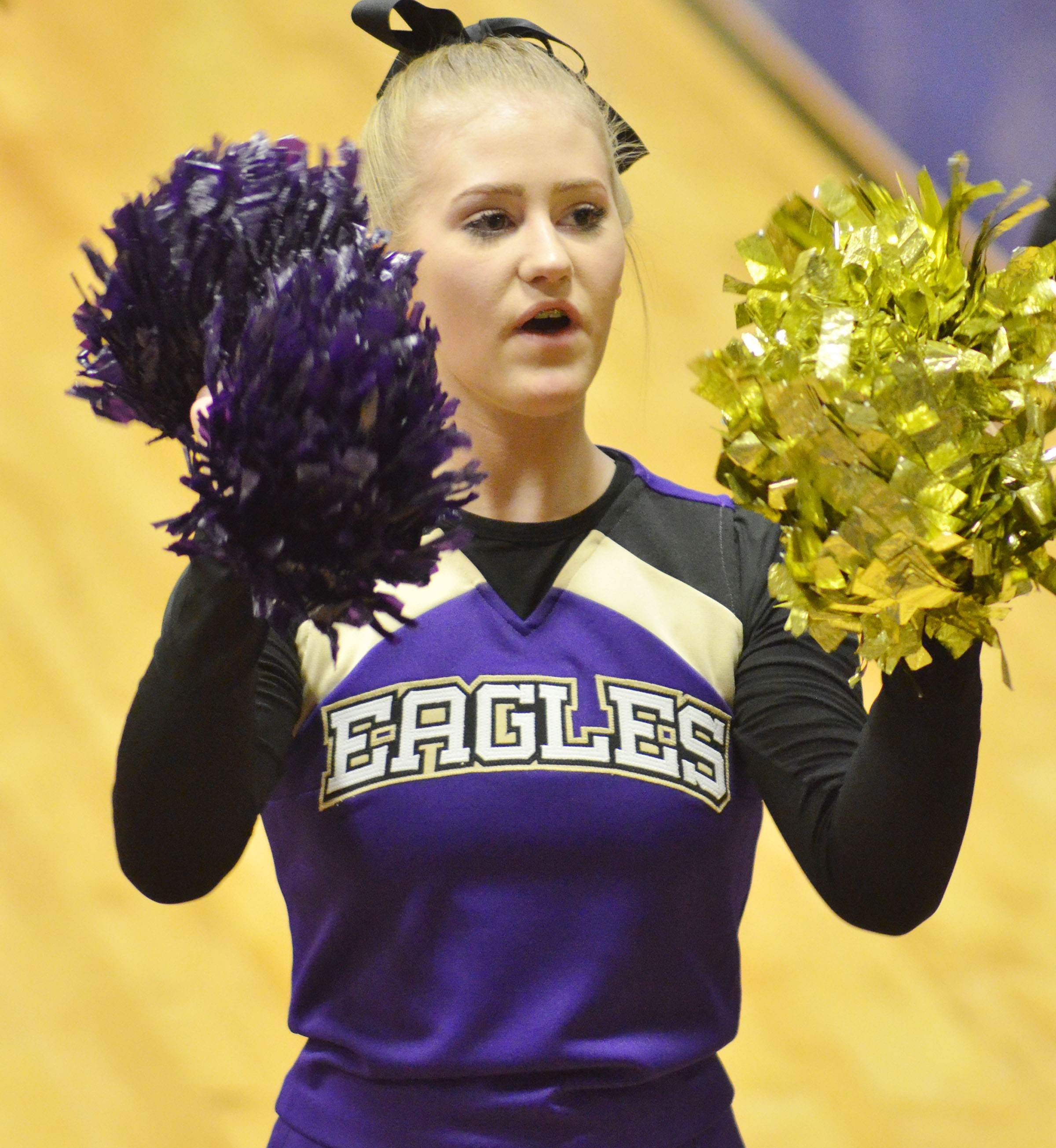 CHS freshman Isabella Osborne cheers for the Eagles.