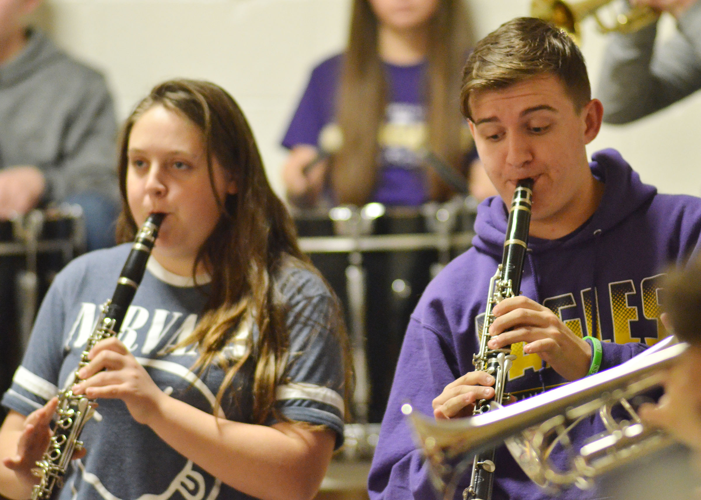 CHS sophomore Ruby Hatfield, at left, and junior Austin Fitzgerald play with the CHS Pep Band.