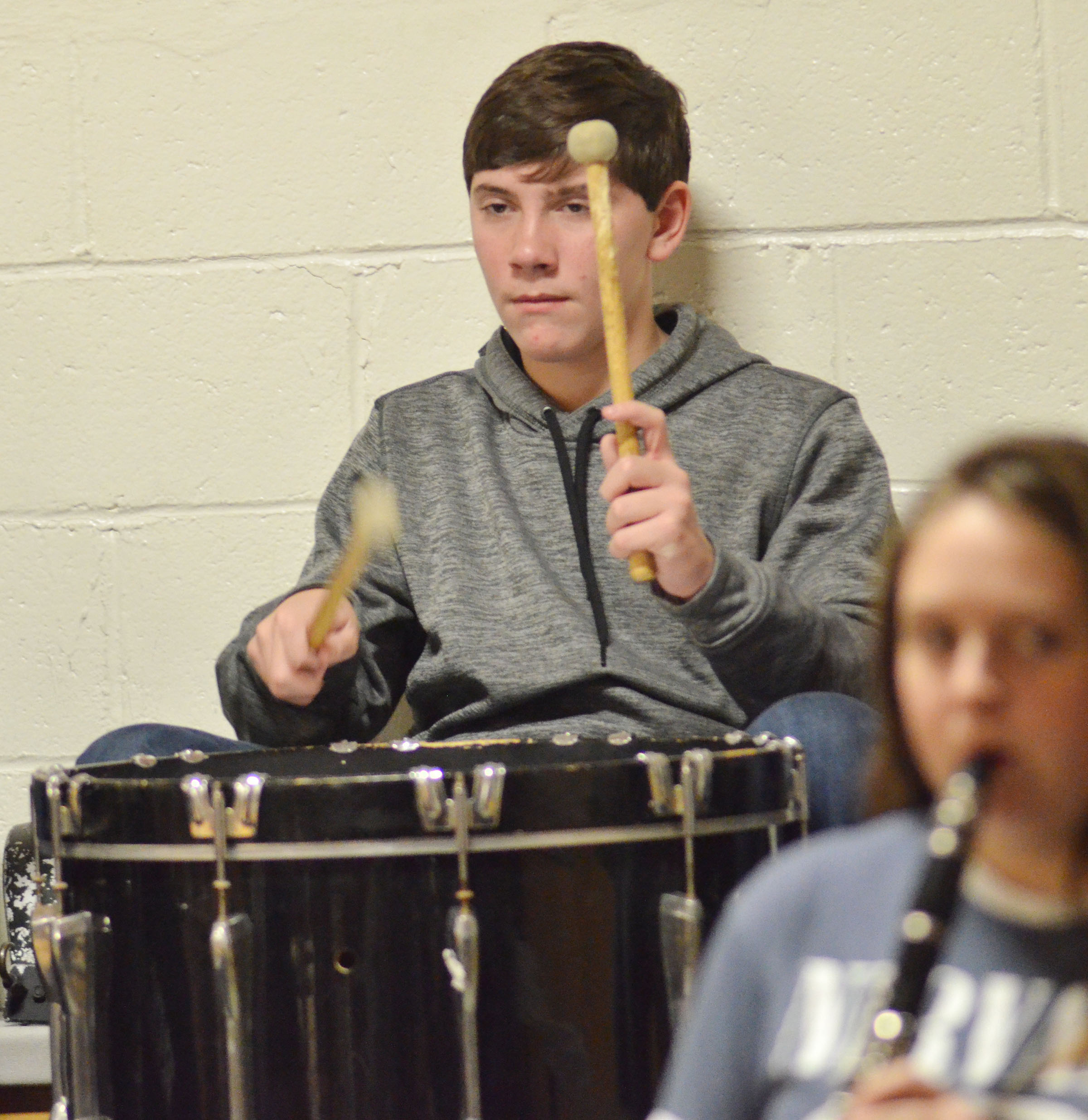 Campbellsville Middle School seventh-grader Peyton Dabney plays drums with the CHS Pep Band.
