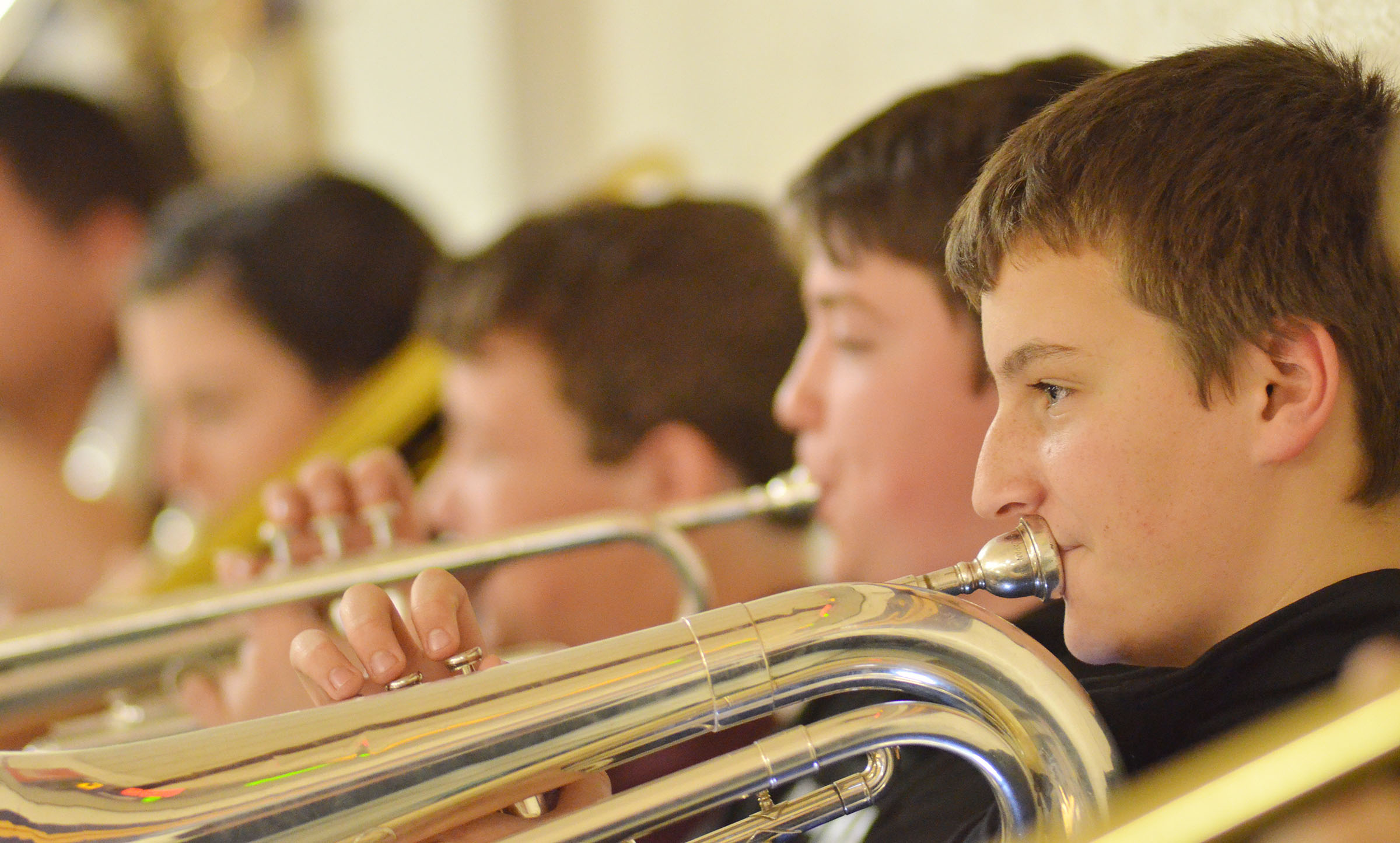 Campbellsville Middle School eighth-grader Nick Drew plays baritone with the CHS Pep Band.