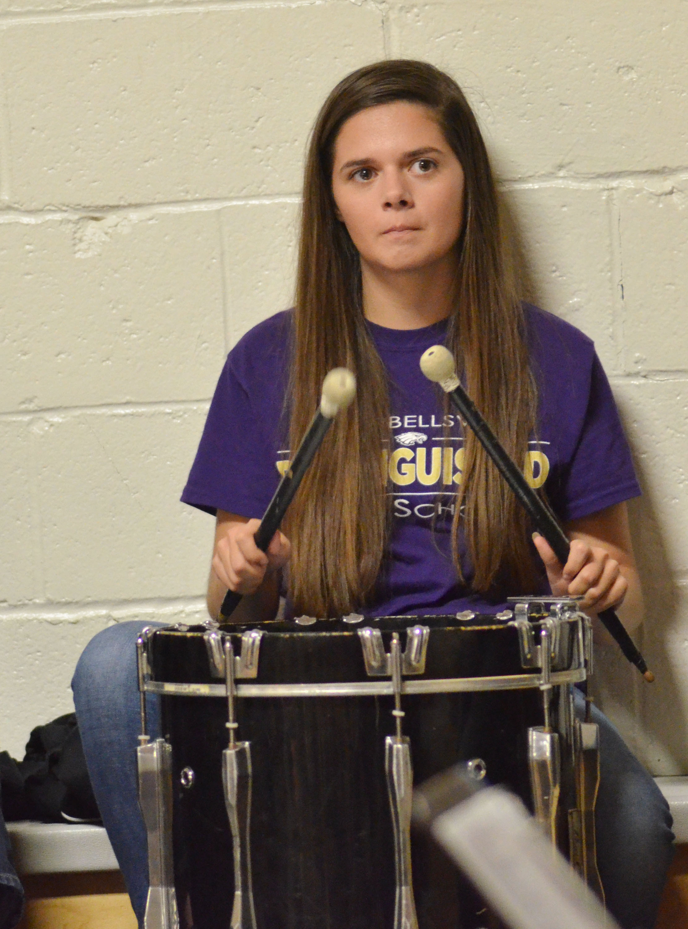 CHS senior Shauna Jones plays percussion with the CHS Pep Band.