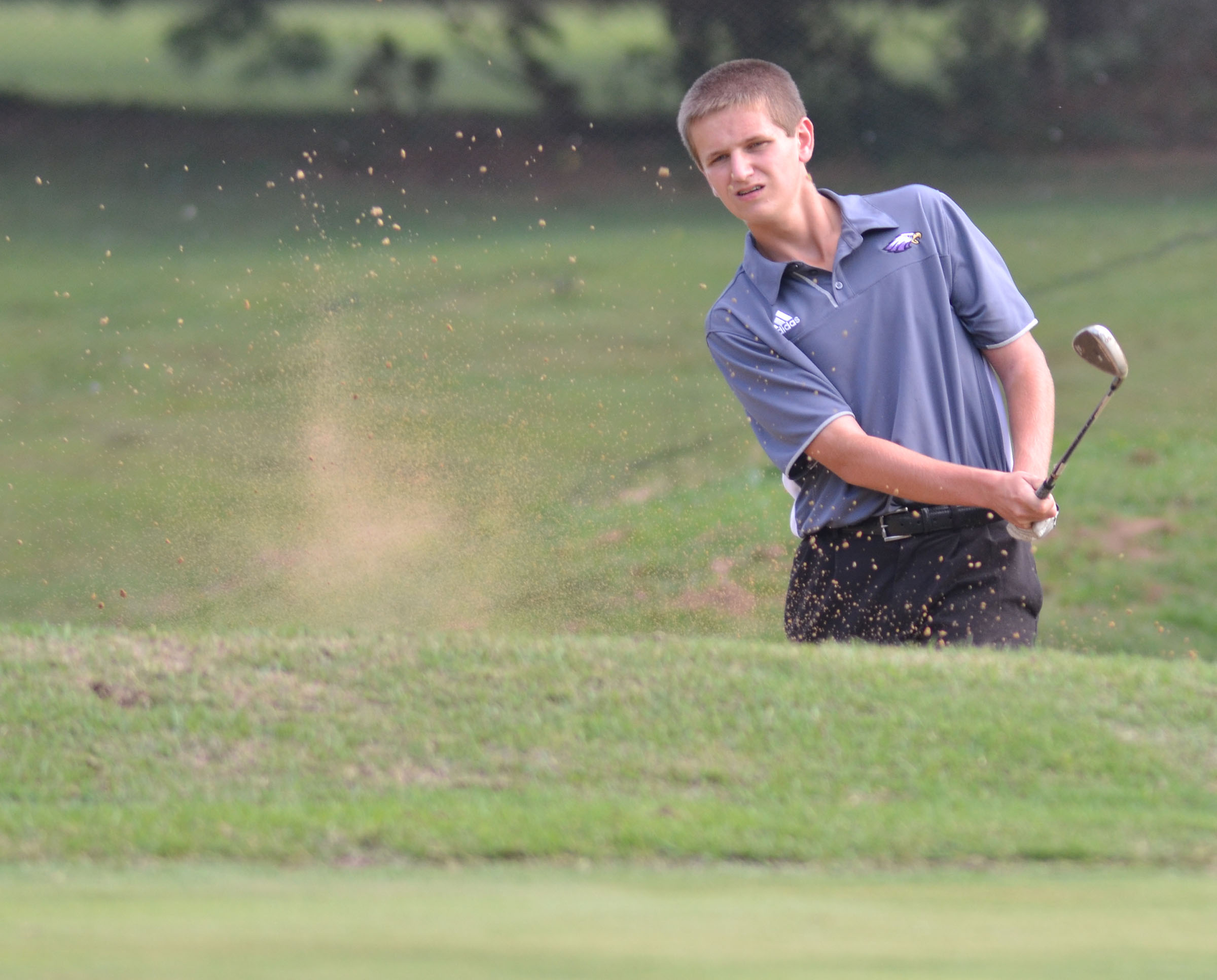 CHS sophomore Myles Murrell chips the ball onto the green.