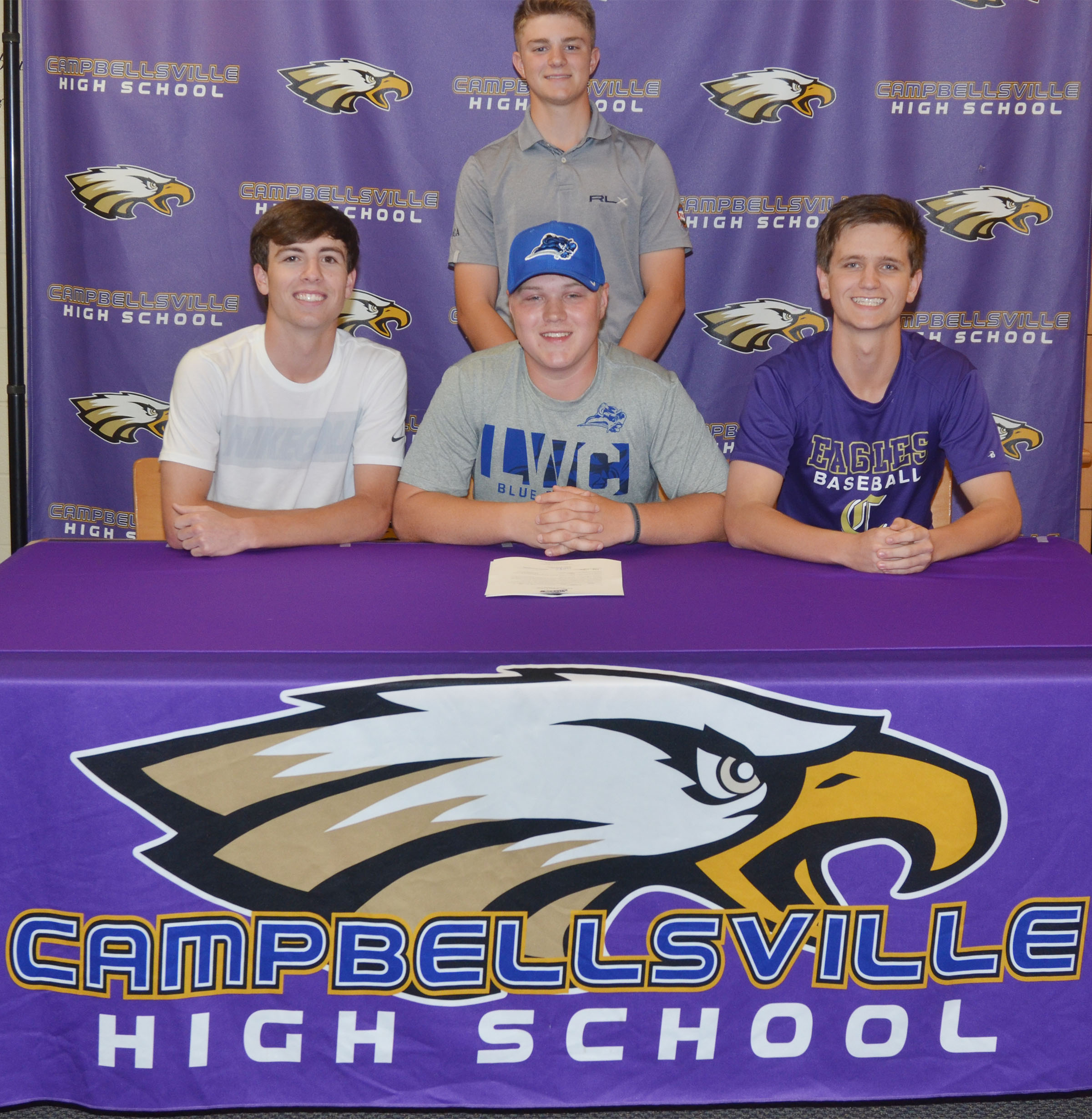 Campbellsville High School senior Noah Wagers will continue his academic and golf career this fall at Lindsey Wilson College. Wagers recently signed his letter of intent in a special ceremony with family, friends, teammates and coaches. He is pictured with, from left, CHS golf teammates Layton Hord and Myles Murrell, sophomores, and, in back, junior Alex Doss.