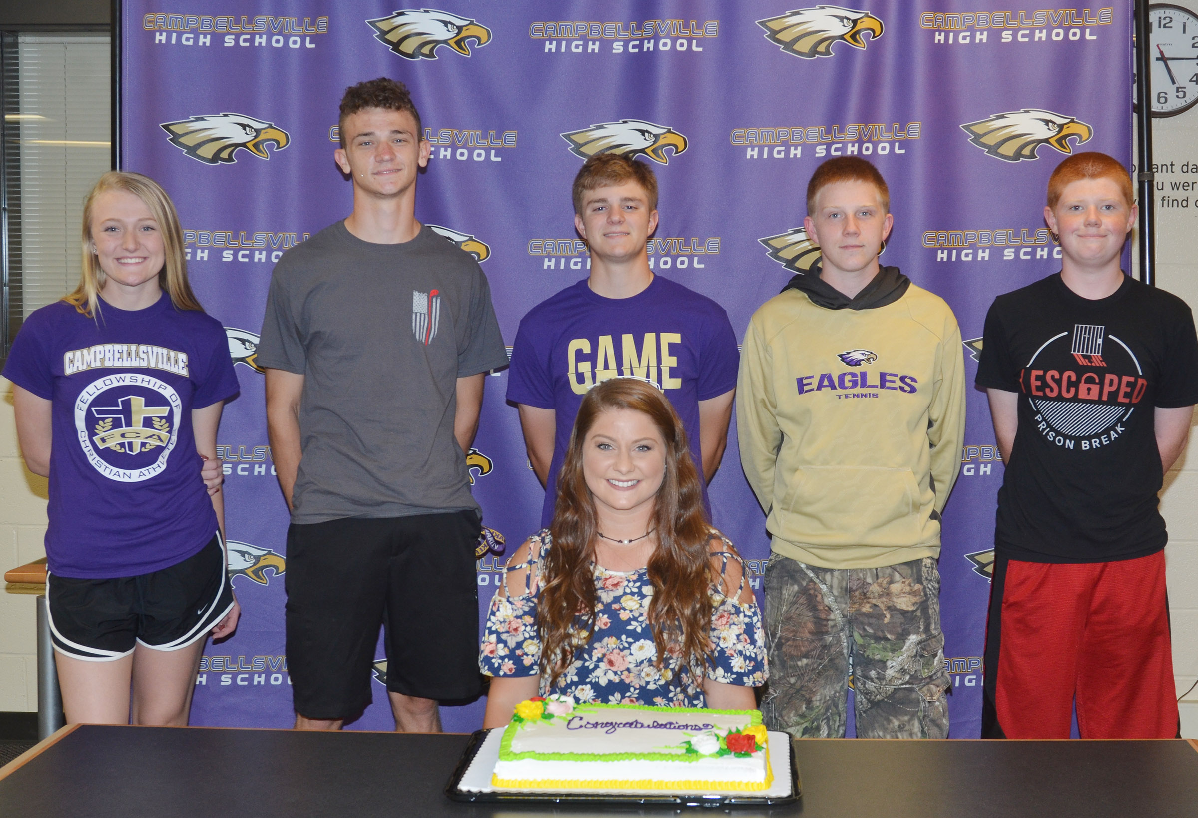 Cassidy Scantland will be the new CHS boys' golf coach, and serve as the temporary girls' coach. She is pictured with some of the CHS golf players, from left, sophomore Abbie Dicken, junior Connor Wilson, junior Alex Doss, freshman Patrick Walker and Campbellsville Middle School eighth-grader Colin Harris.