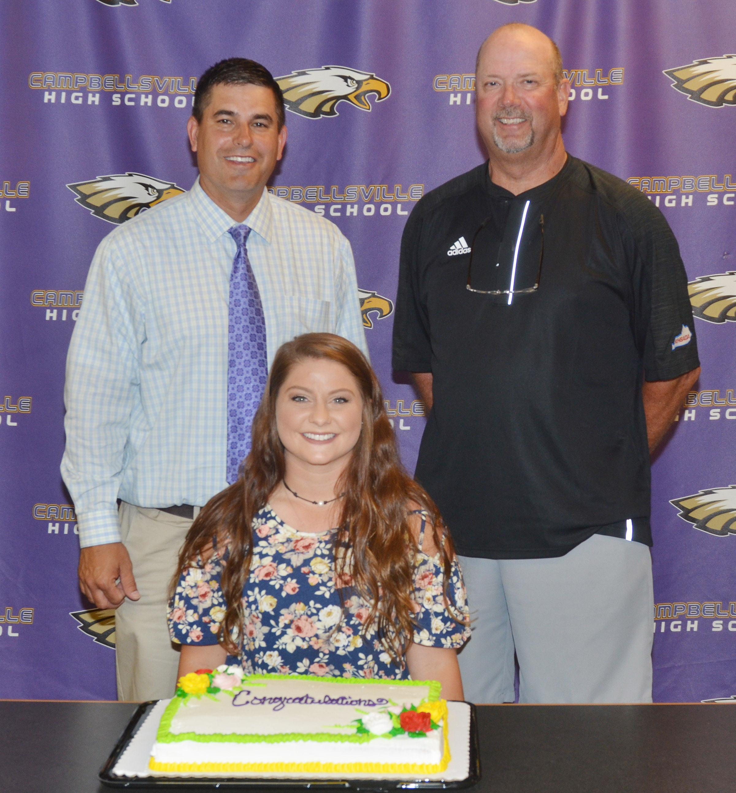 Cassidy Scantland will be the new CHS boys' golf coach and serve as the temporary girls' coach. She is pictured with CHS Principal Kirby Smith, at left, and CHS Athletic Director Tim Davis.
