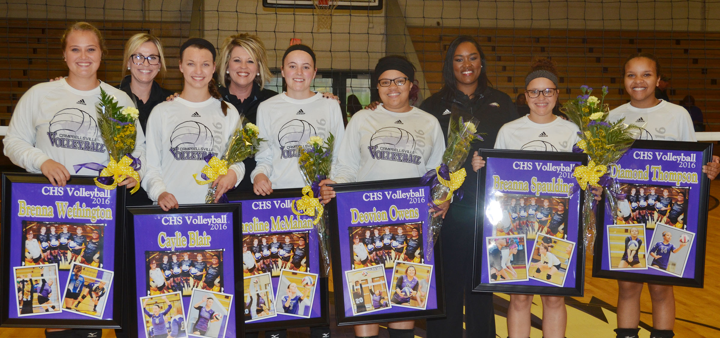 CHS senior volleyball players were honored on Thursday, Sept. 29, for their dedication to the team. They are, from left, Brenna Wethington, Caylie Blair, Caroline McMahan, Deovion Owens, Breanna Spaulding and Diamond Thompson. In back are, from left, assistant coach Jessica Newton, head coach Elisha Rhodes and assistant coach Shajuana Ditto.