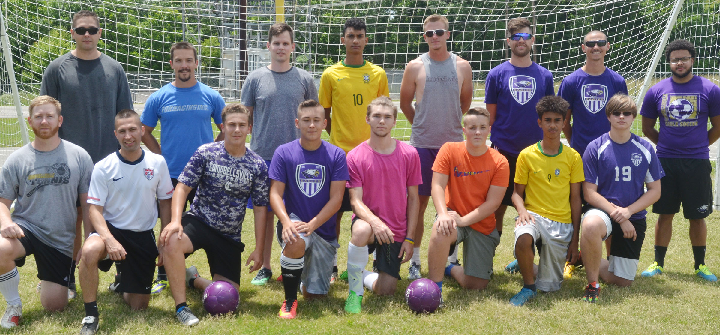 "CHS soccer team recently hosted its first alumni game, pitting former players against current players. From left, front, are alumni players Luke Lawless and Kevin Sharp, junior Brody Weeks, senior Cody Davis, Christian Berry and Justin Richerson, sophomore David Silva and junior Keidlan Boils. Back, alumni players Lincoln ""Bubba"" Lawless, Drew Skaggs, Jeff Muncie, Daniel Silva, Logan Dial, Matt Schmuck, who is also an assistant coach, Bradley Harris, who is head coach, and Malique Spaulding, who is also an assistant coach."